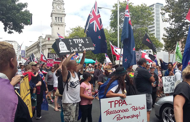 TPPA protestors in Auckland, New Zealand. Image credit: Farina Ibnul