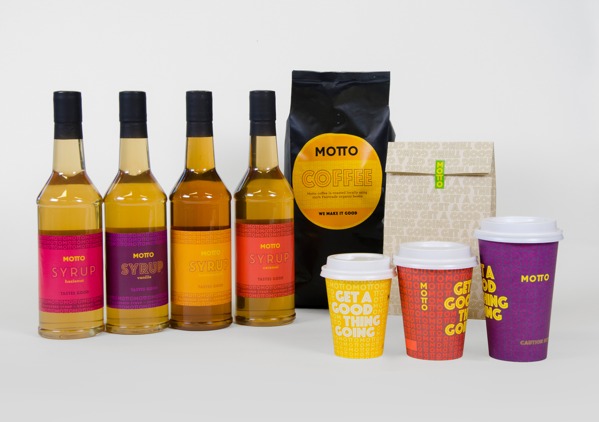 Motto syrup and coffee packaging