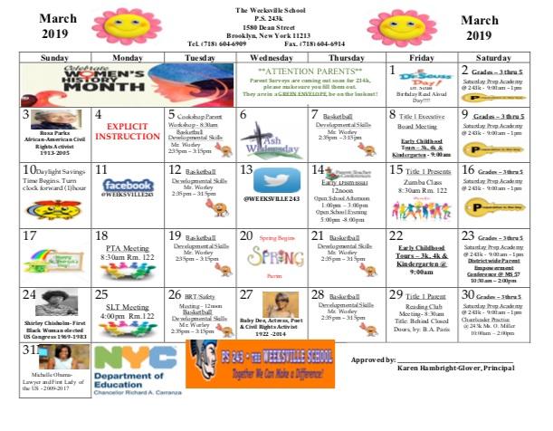 School Calendar — PS 243 - The Weeksville School