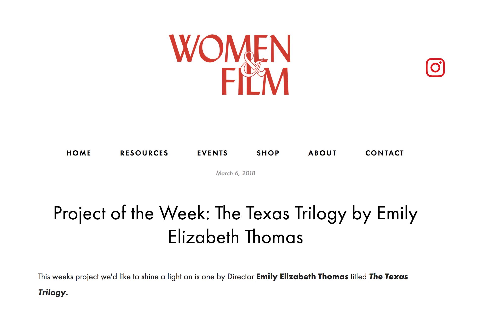 Women & Film | Project of the Week -