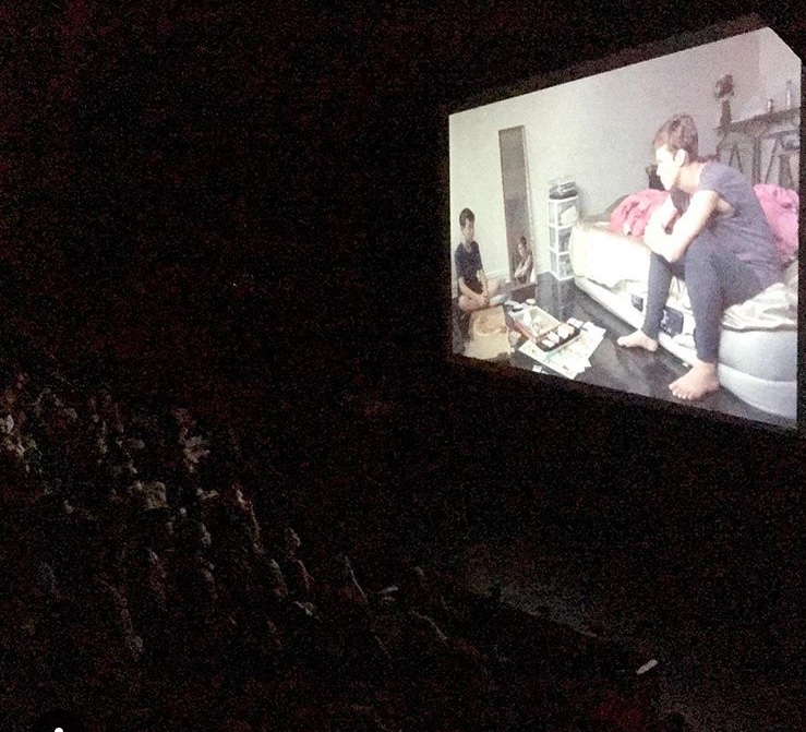 On the big screen for the first public showing of Cecile! - Baby boy was wing man….