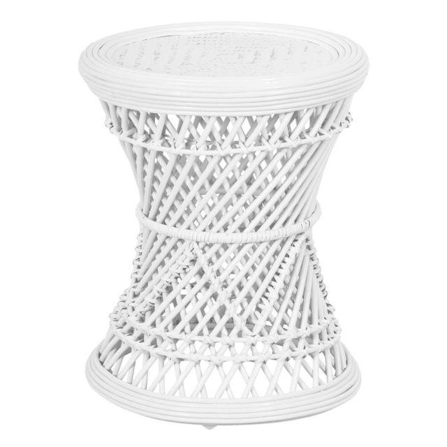 Rattan stool - white  Price: $15.00  Qty: 1