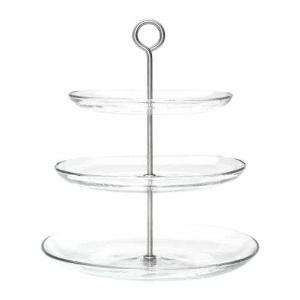 Three tier stand - glass  Price: $8.00  Qty: 1