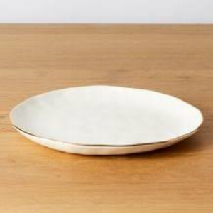 Dinner plate - gold rimmed  Price: $4.00  Qty: 30