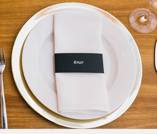 Personalised napkin slips  Please contact for further information