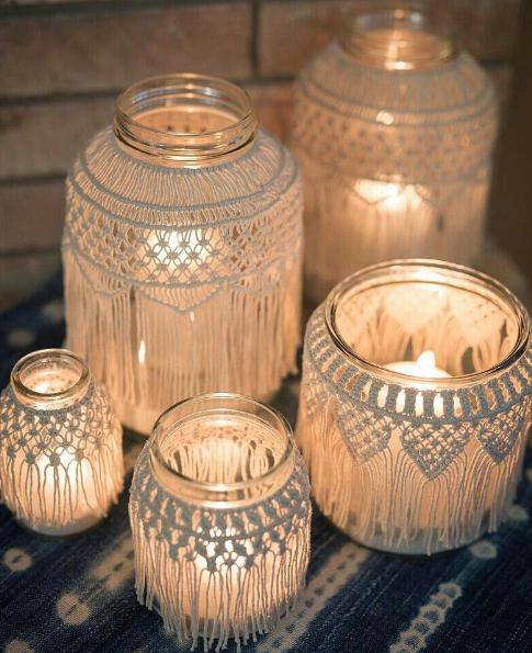 Macrame jars (assorted)  Price: $5.00  Qty 12