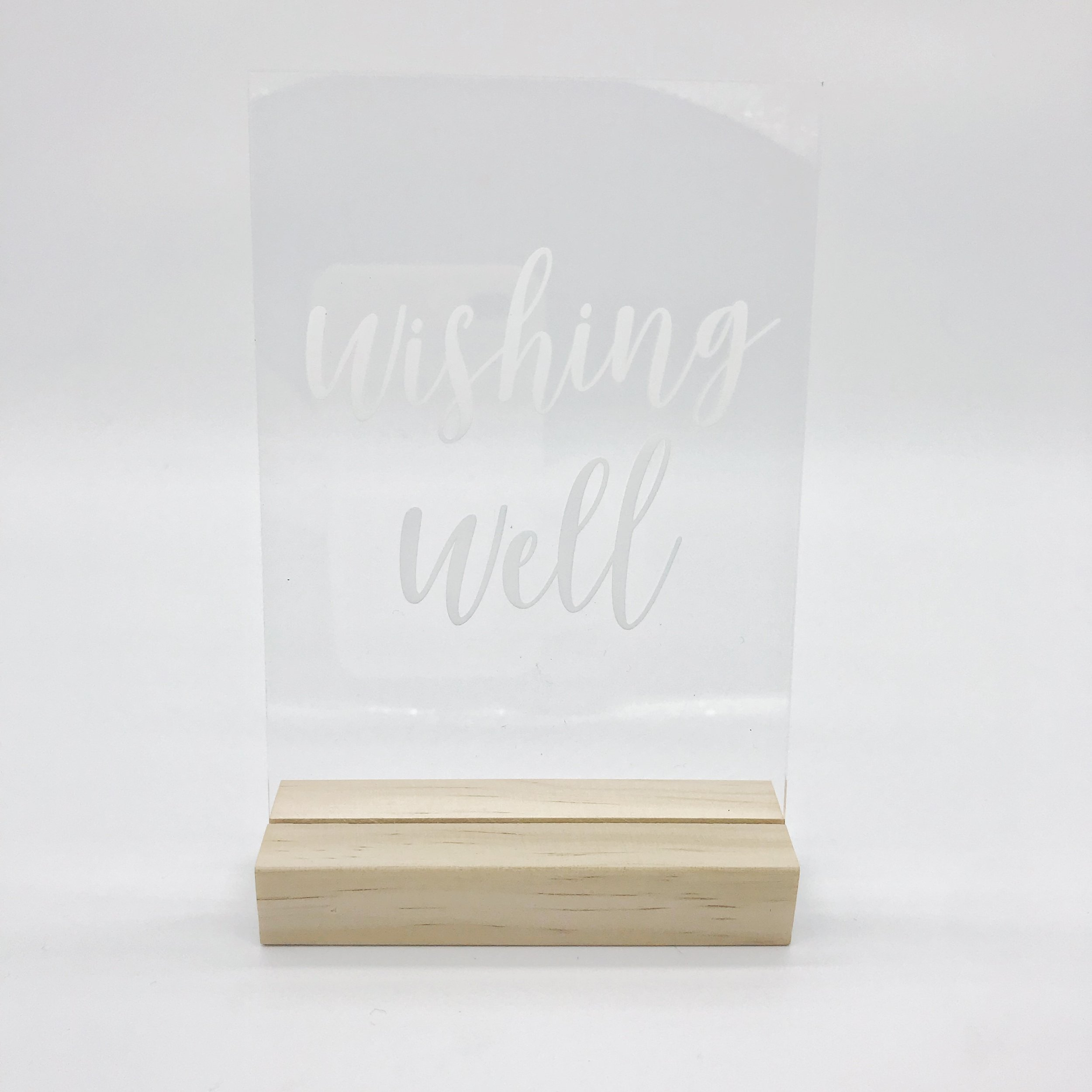 Acrylic 'wishing well' sign and stand  Price: $6.00  Qty: 1
