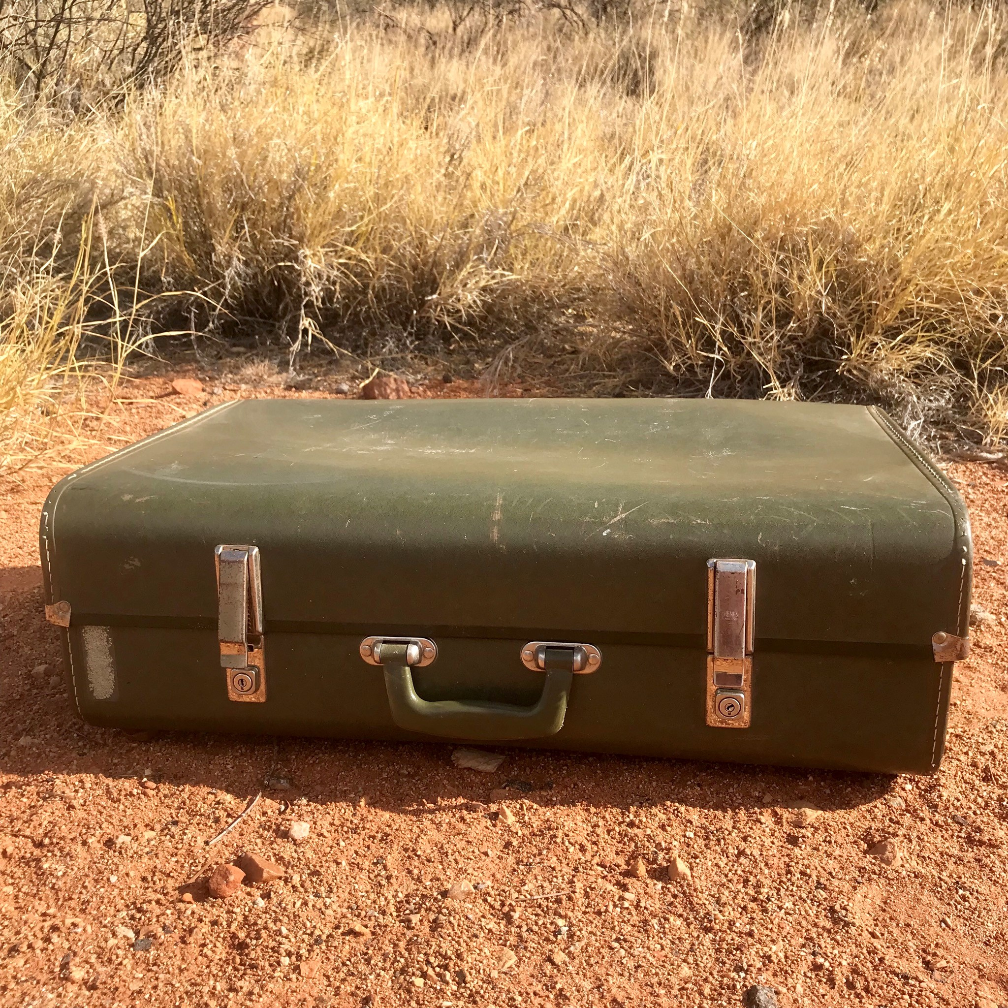 Vintage trunk - olive green  Price: $15.00  Qty: 1