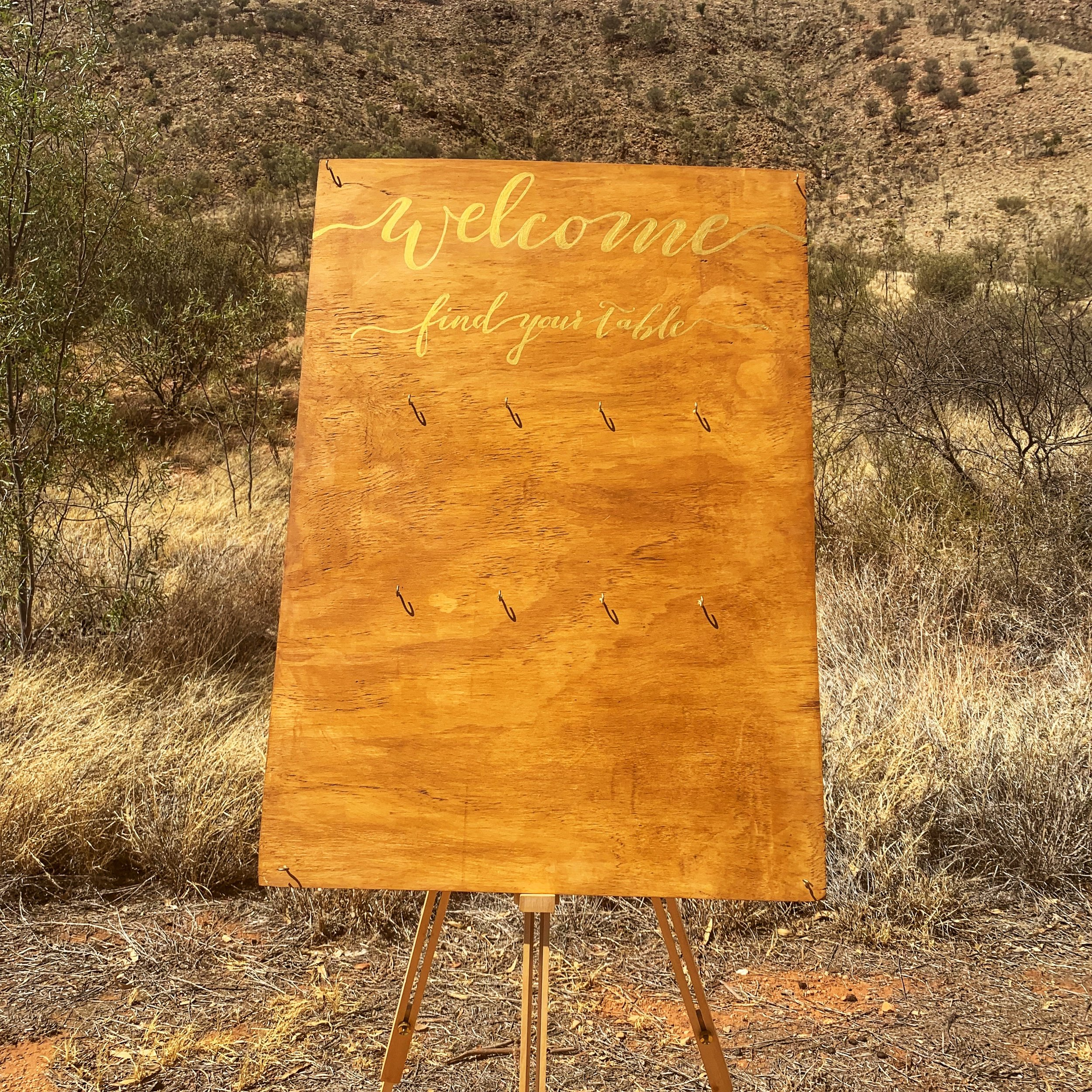 "'Welcome find your table' sign (24 x 36"")  Price: $10.00  Qty: 1"