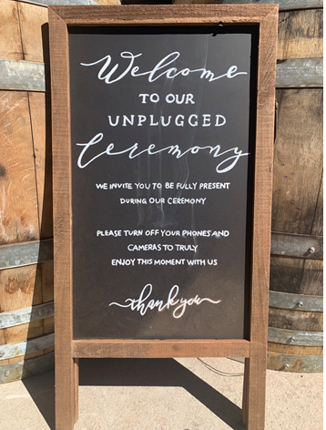 Unplugged Wedding Sign  Price: $25.00  Qty: 1