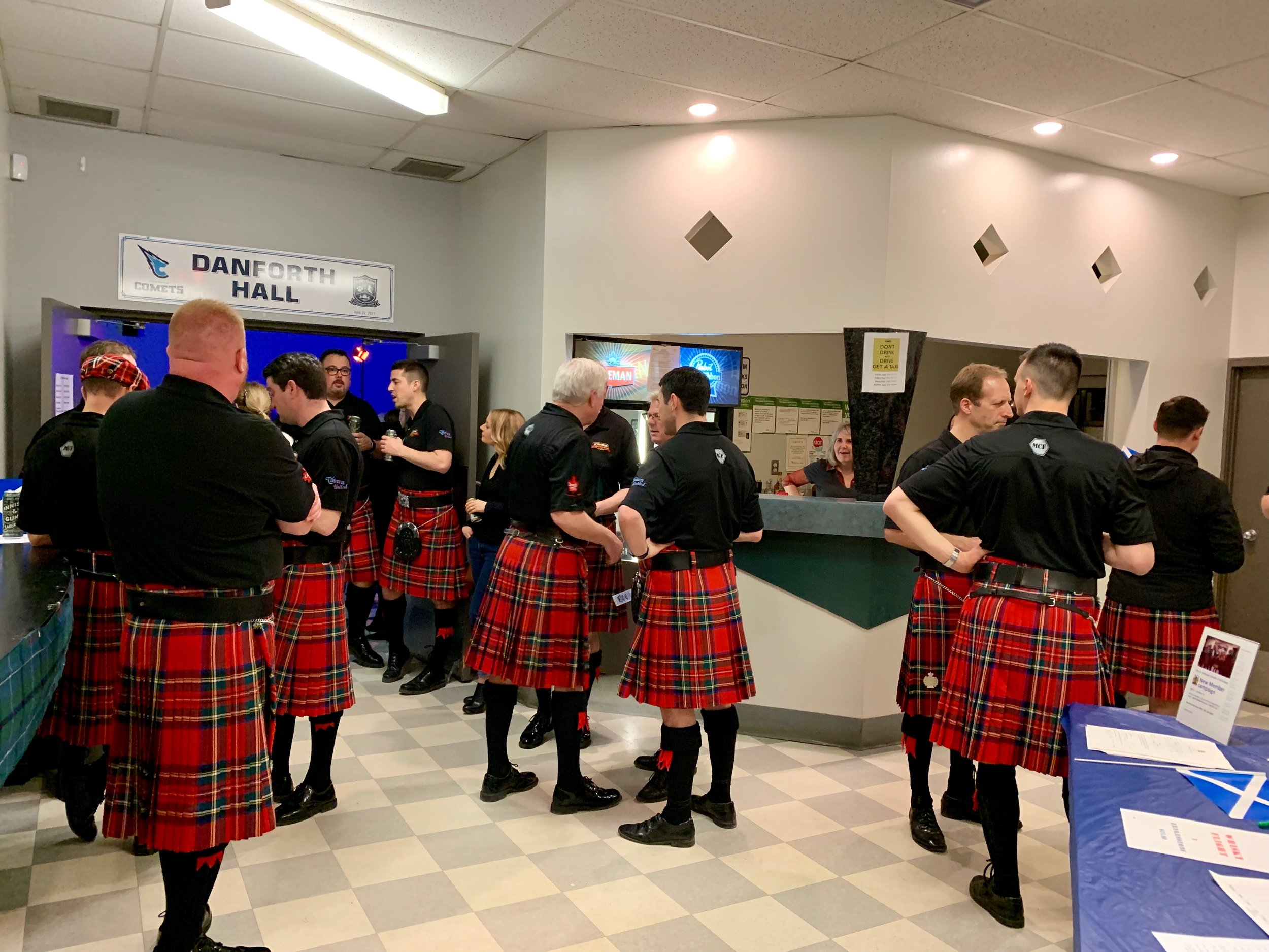 Winnipeg Police Pipe Band getting ready