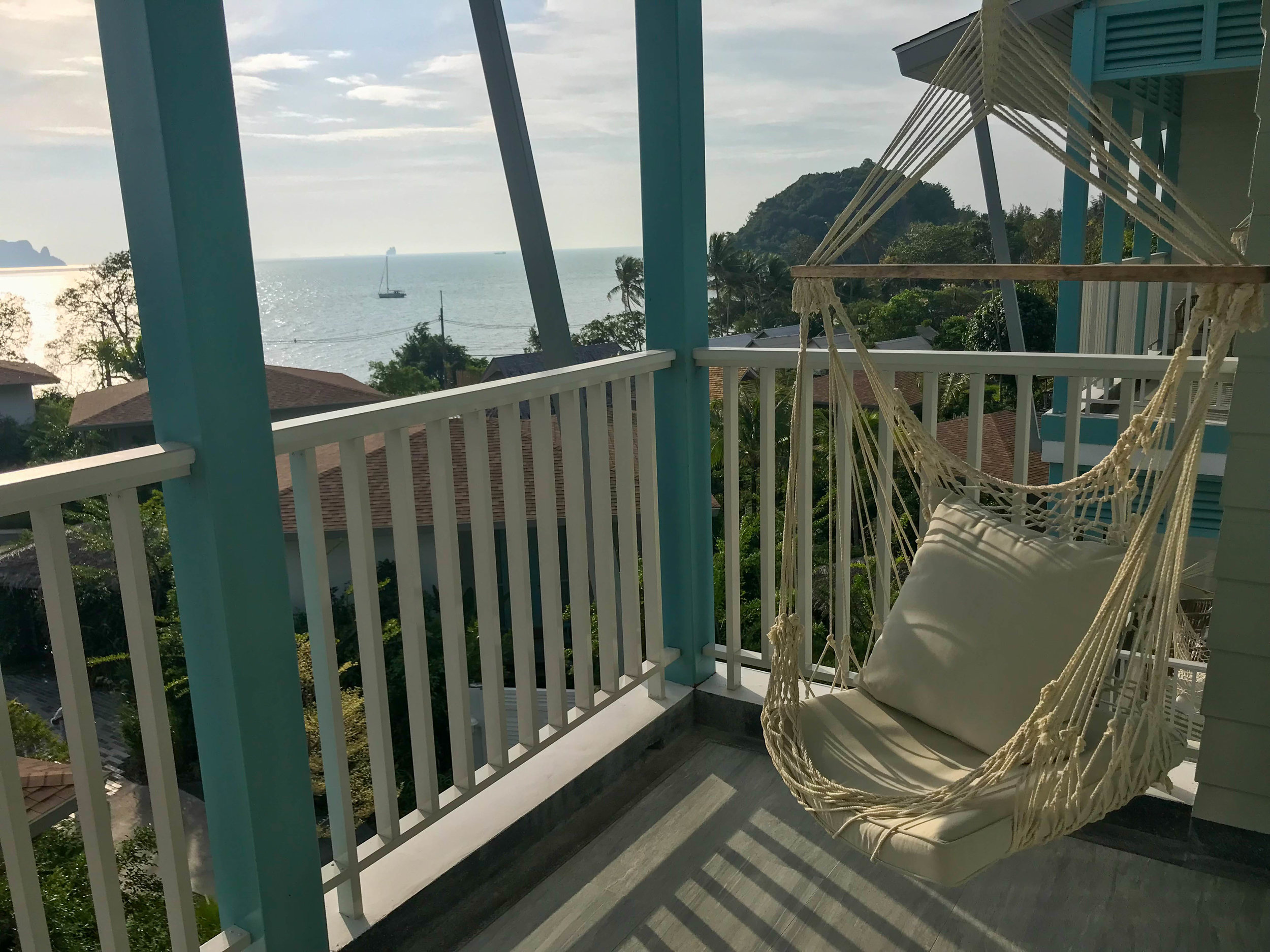 Thailand Cape Kudu Hotel Koh Yao Noi - porch swing and view