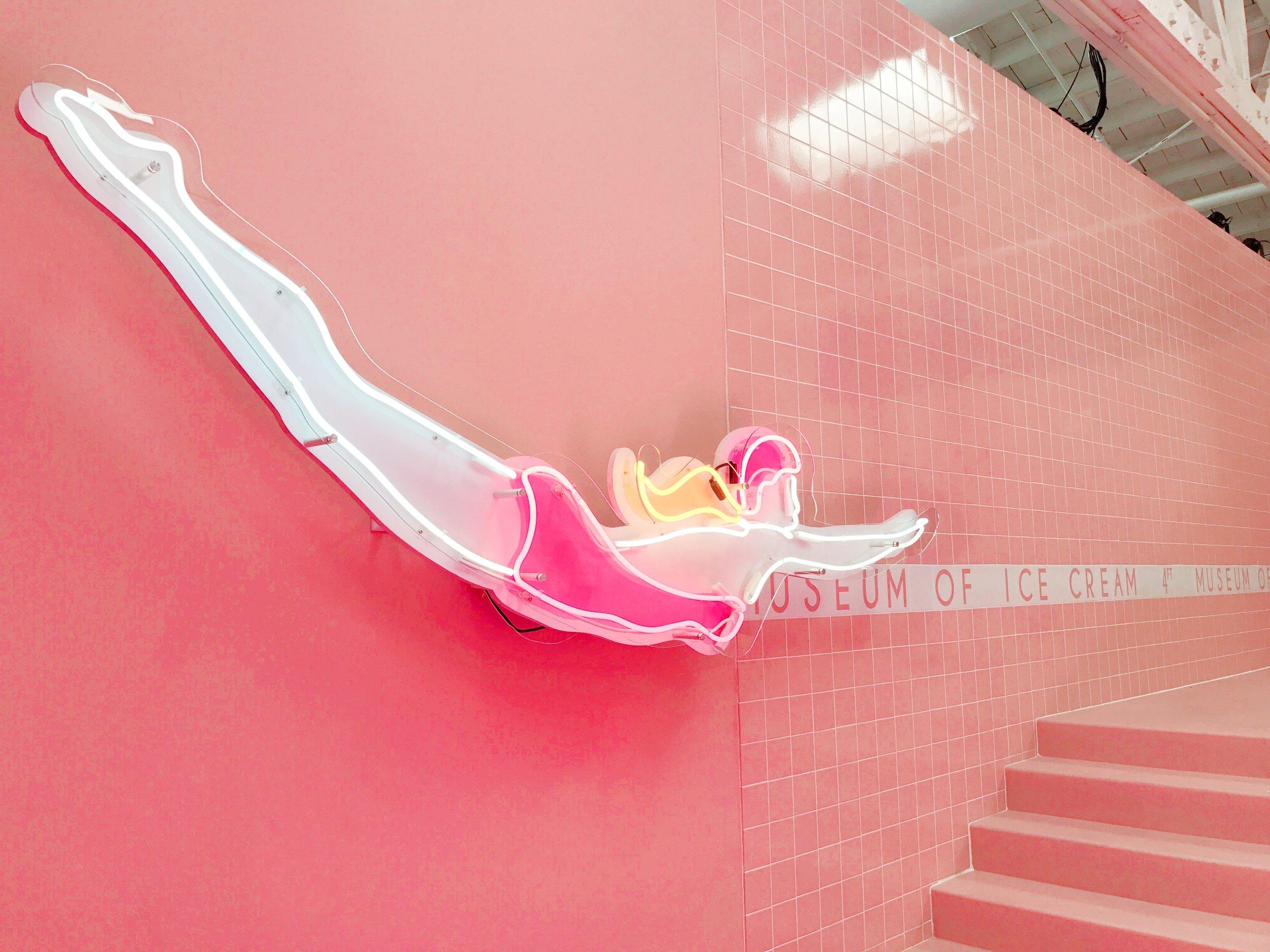 Ice Cream Museum Los Angeles Sprinkle Pool Neon Dive Sign