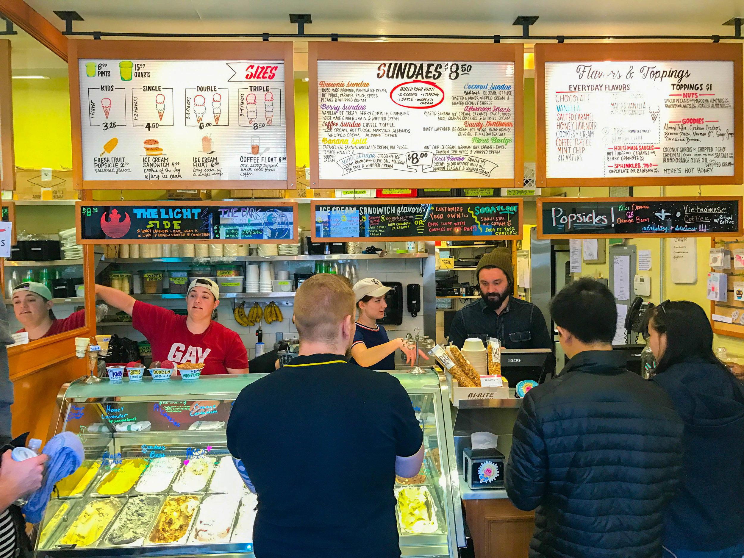 Bi-Rite Ice Cream Review - menu