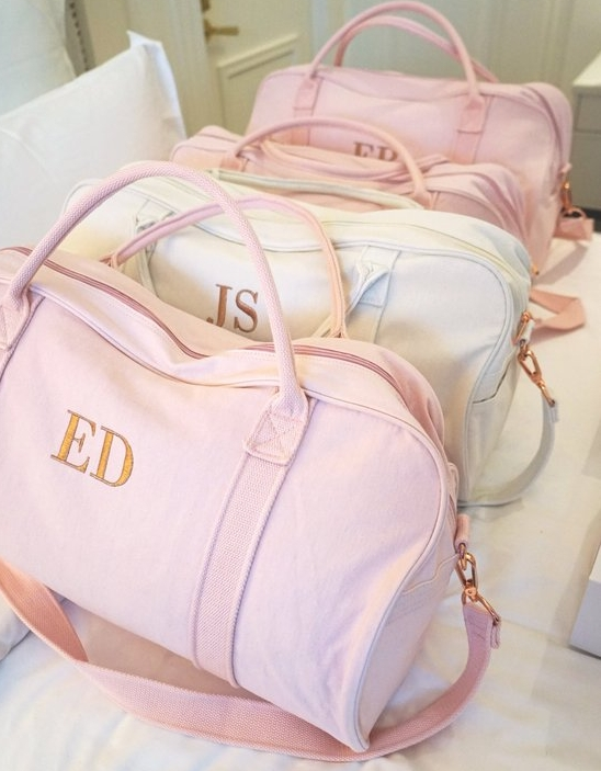 Pretty Personalized Duffels - On Etsy for $45Perfect for a weekend getaway, galavanting across Europe or great for basketball practice!