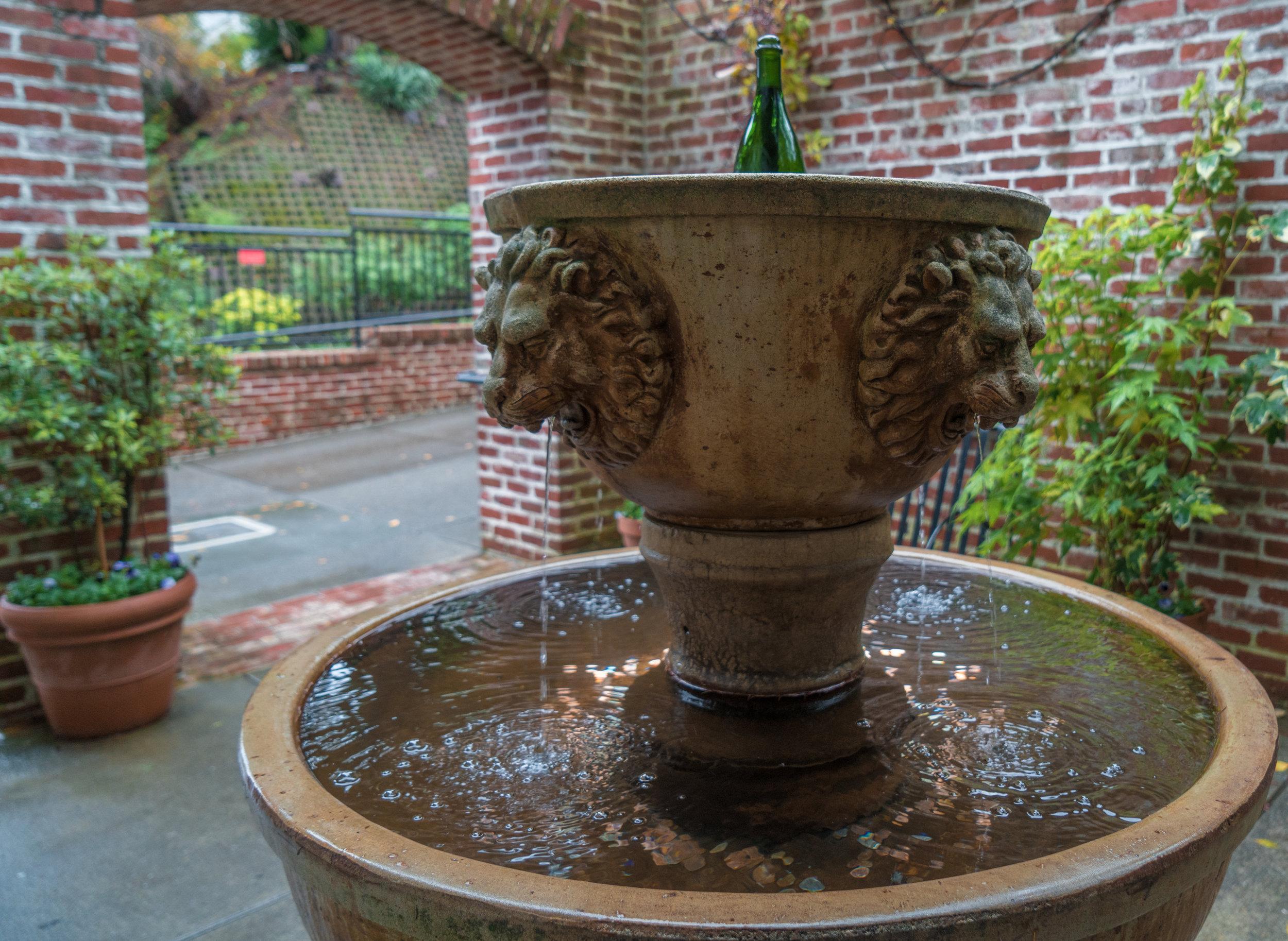 Korbel Champagne Cellars- wine bottle fountain