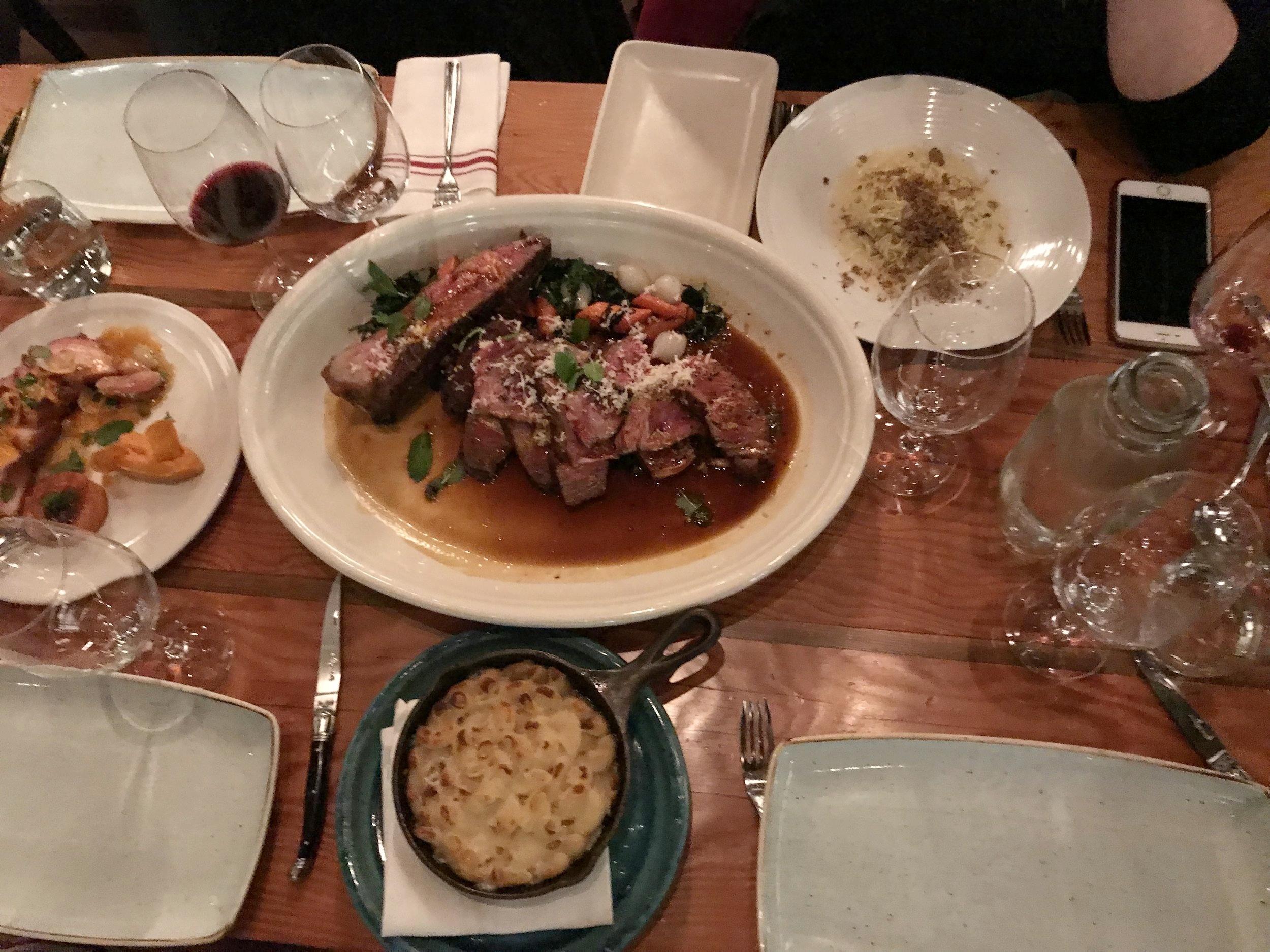 Torc Napa Dinner - Steak, Mac n Cheese, pork