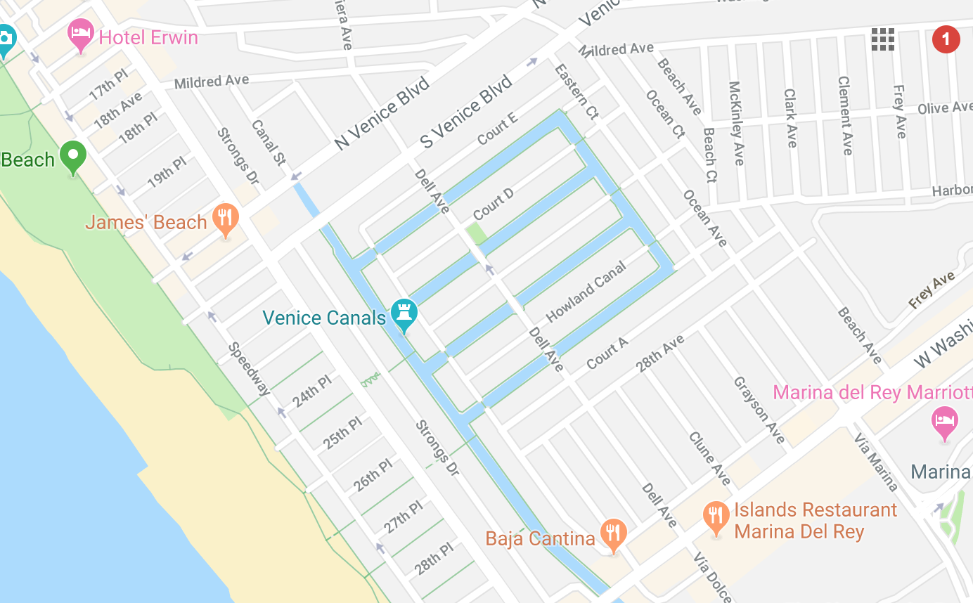 Venice Canals Map and Parking