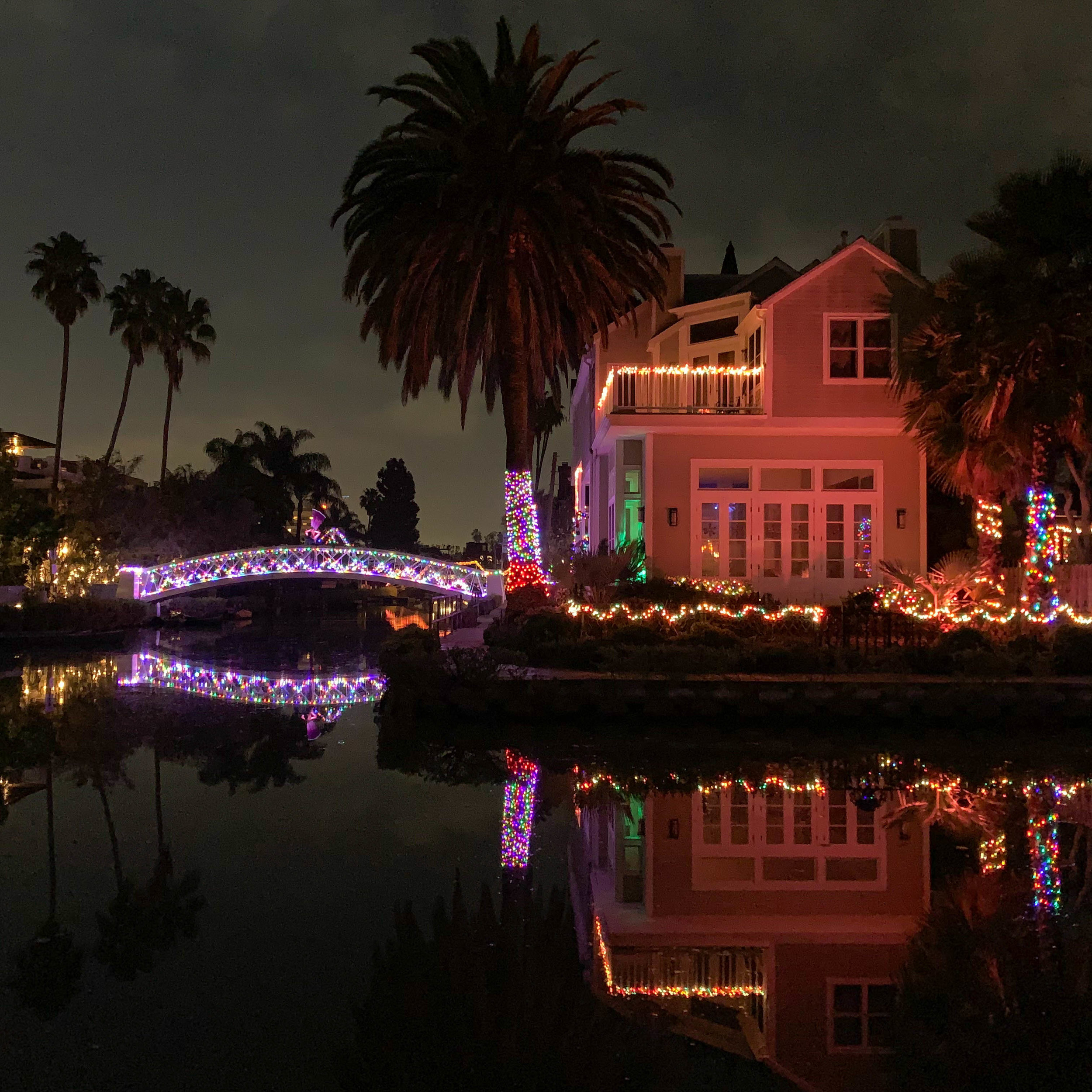 Christmas Lights in Los Angeles Venice Canals - Home Decorations