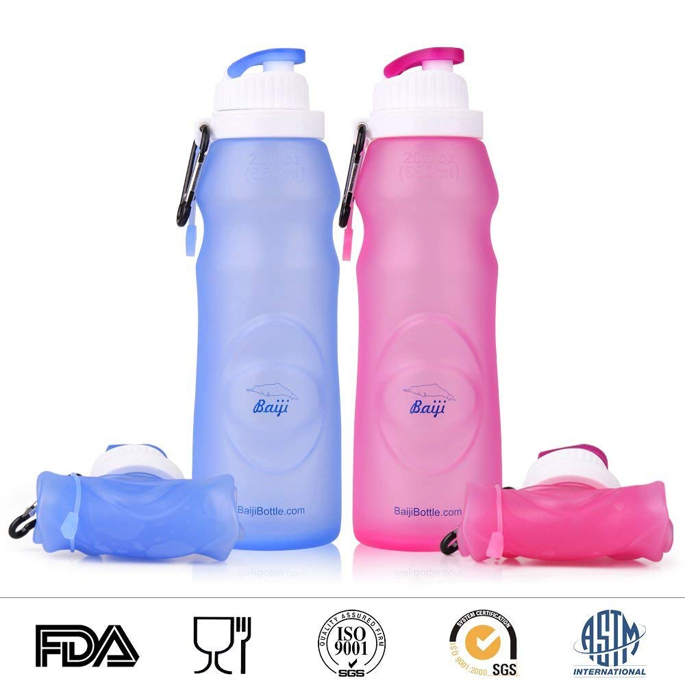 Baiji Bottle Collapsible Silicone Water Bottles - Sports Camping Canteen 20 Oz. - Easy To Clean And Store.jpgon AMAZON