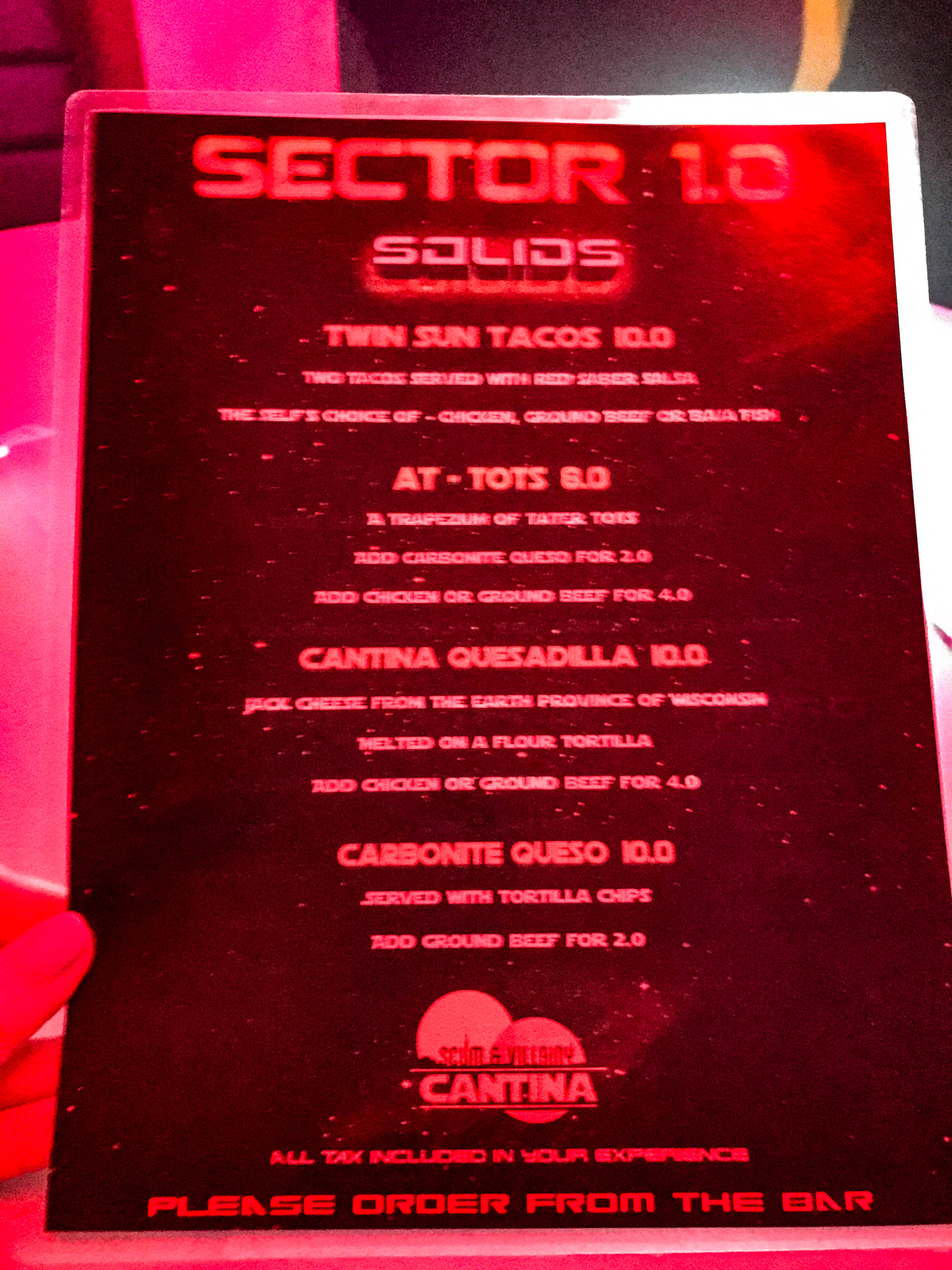 Scum and Villainy Star Wars Bar Menu