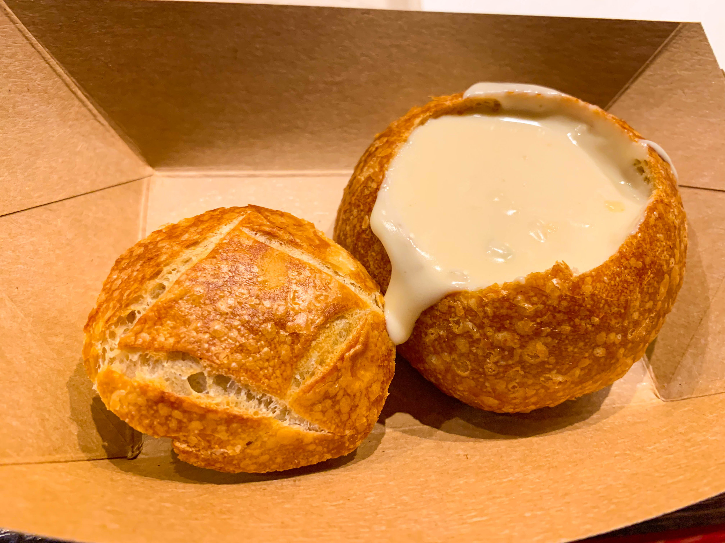 Fiscalini White Cheddar Lager Soup served in a Mini Boudin Sourdough Bowl