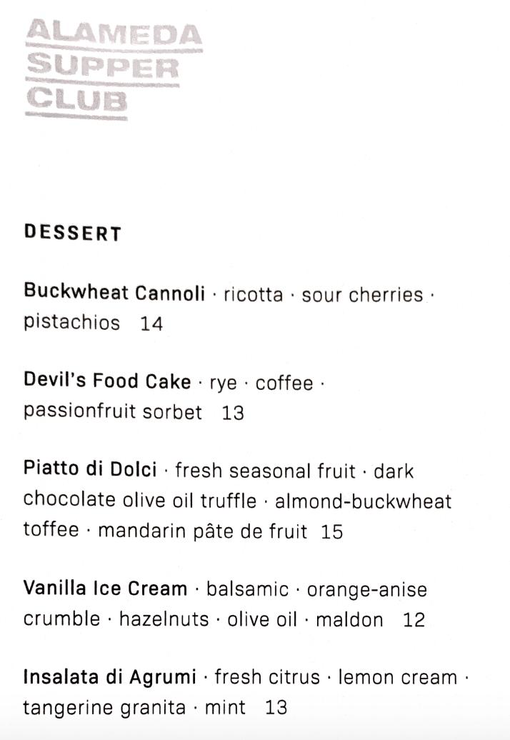 Alameda Supper Club Dessert Menu
