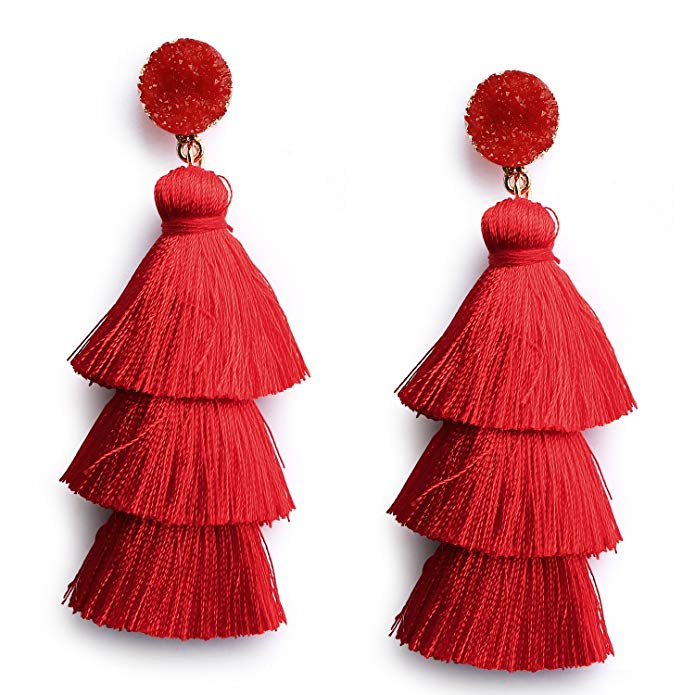Me&Hz Colorful Layered Tassel Earrings Bohemian Dangle Drop Tiered Tassel Druzy Stud Earrings Women Gifts - Various colors available on Amazon.com