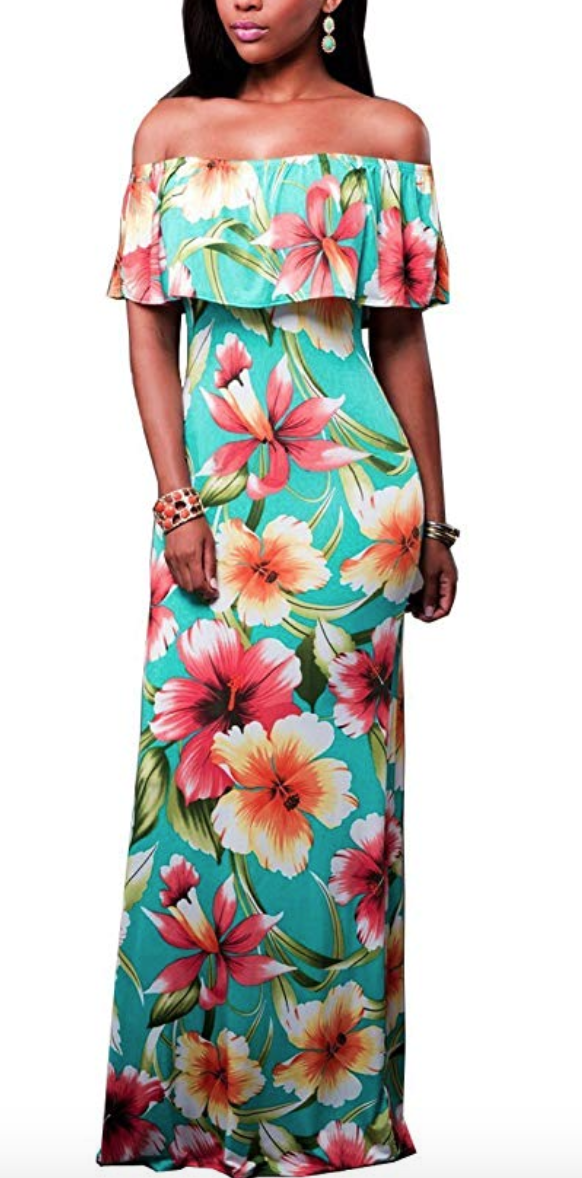 Tropical Off Shoulder Maxi Dress - Available in various prints and colors on Amazon.com