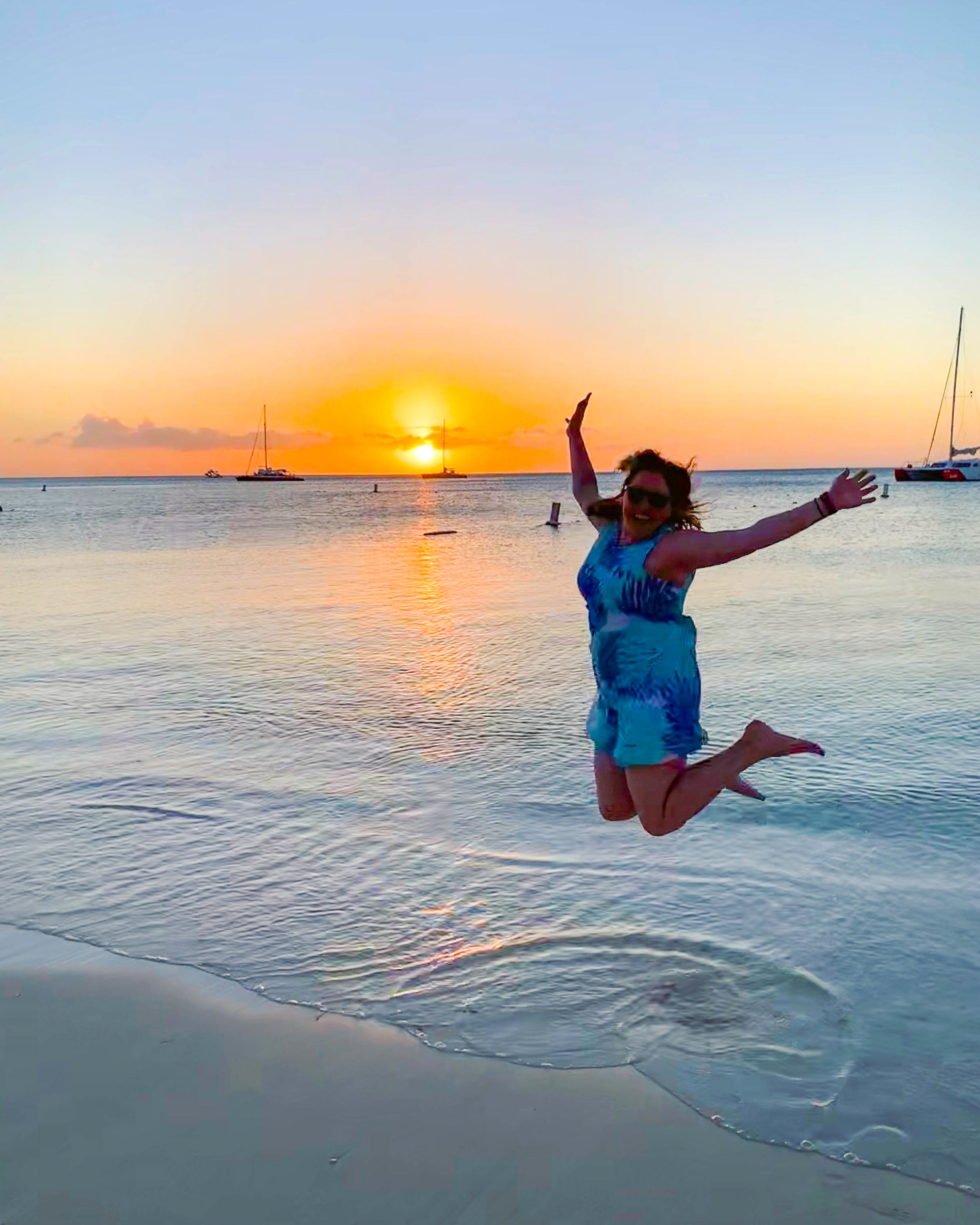 Jumping at Aruba Sunset beach time!
