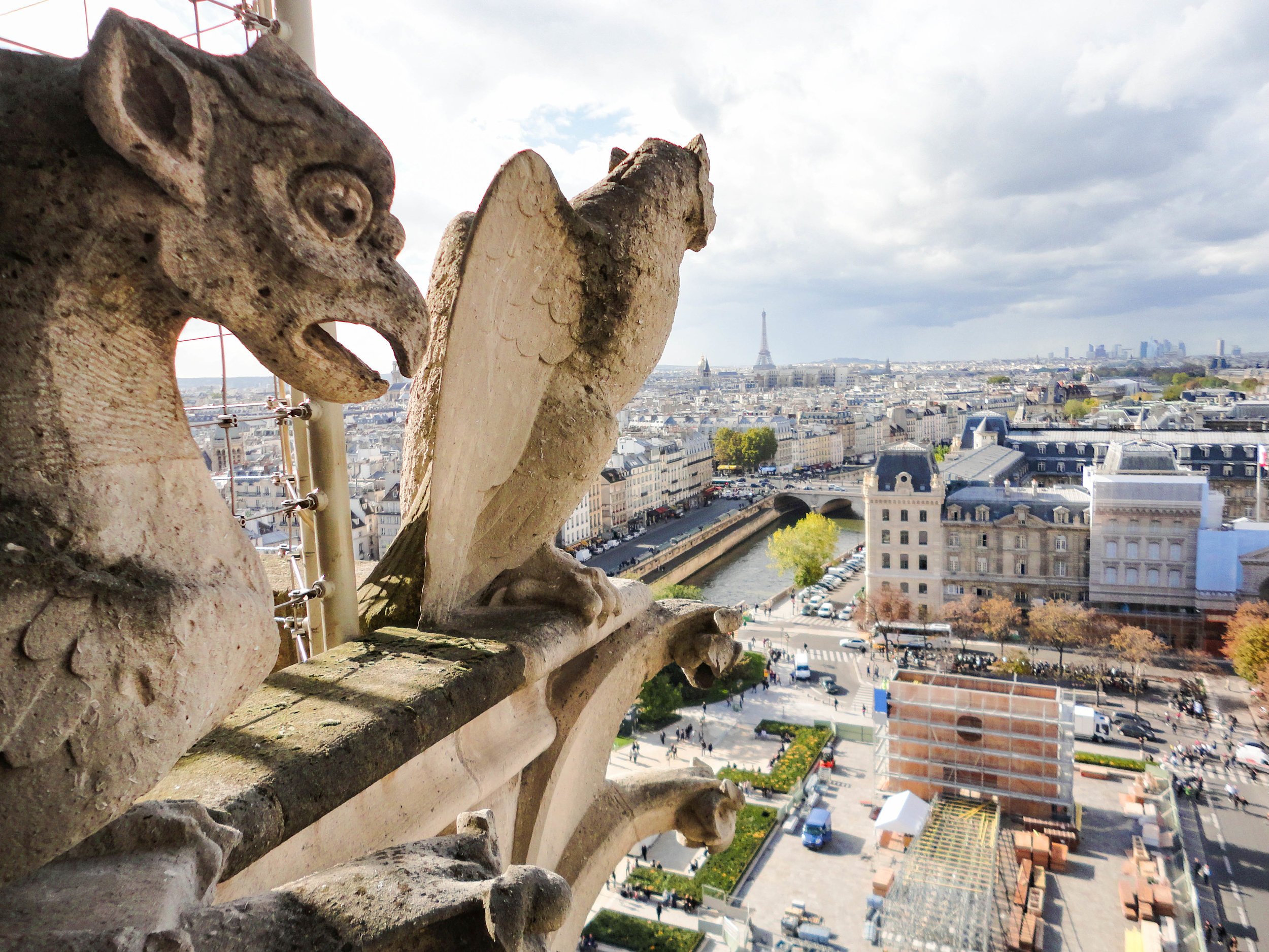 Notre Dame tower gargoyles before the fire