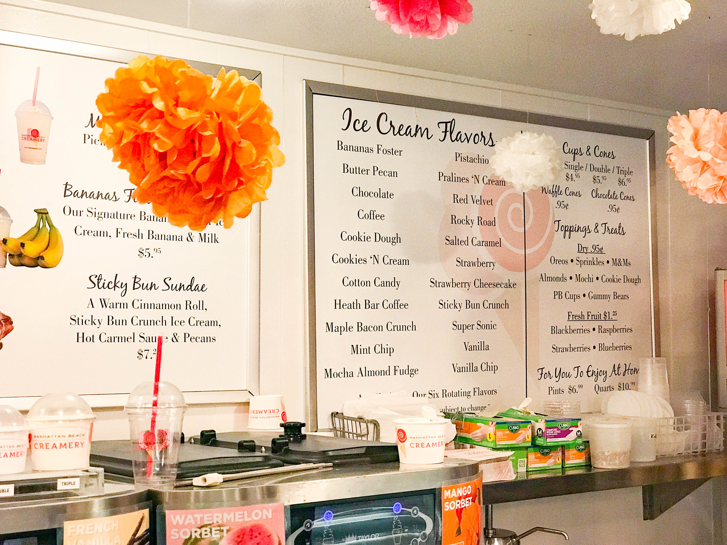 Manhattan Beach Creamery Ice Cream Flavors Menu