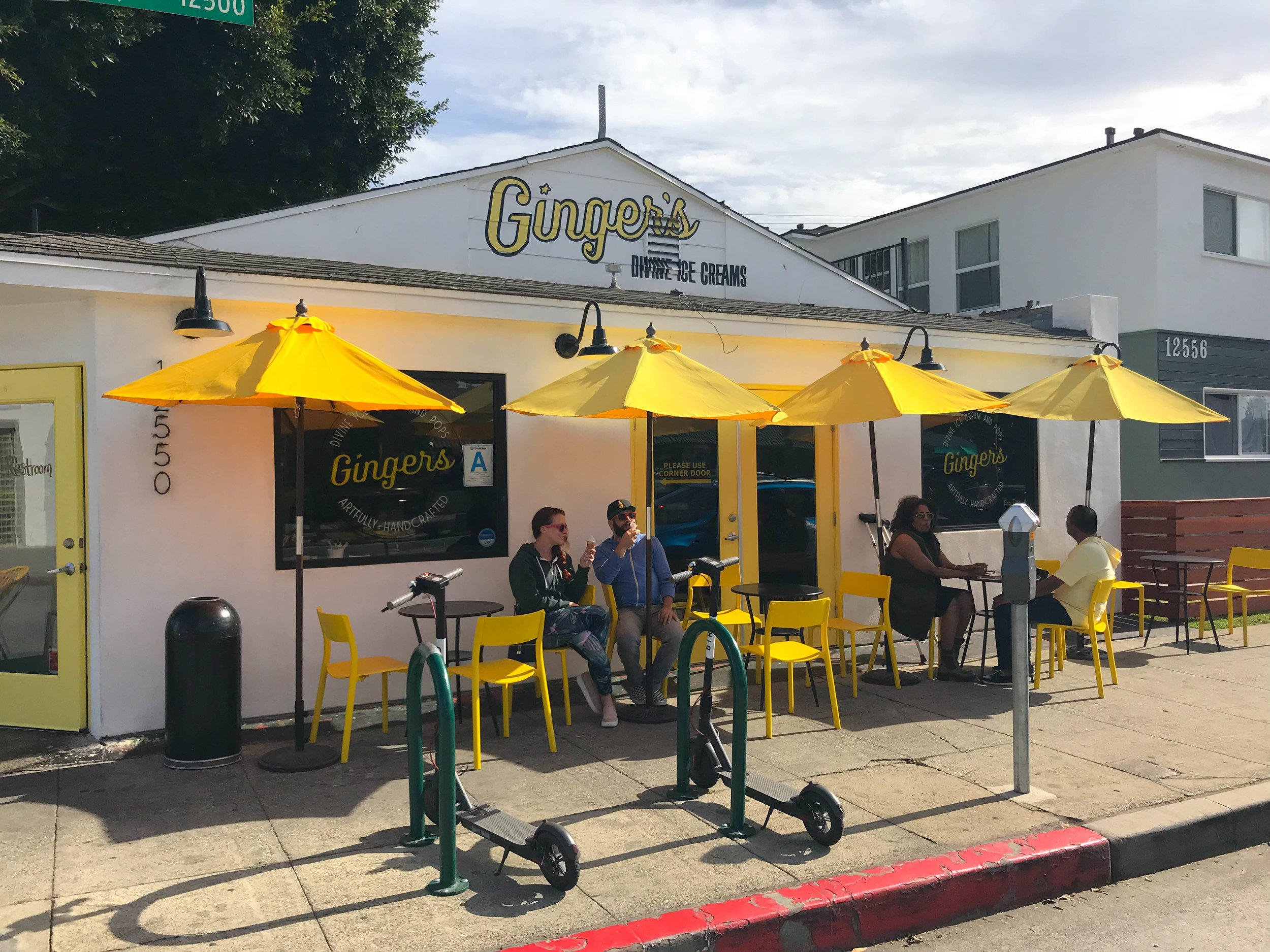 Ginger's Ice Cream Front - love the yellow umbrellas
