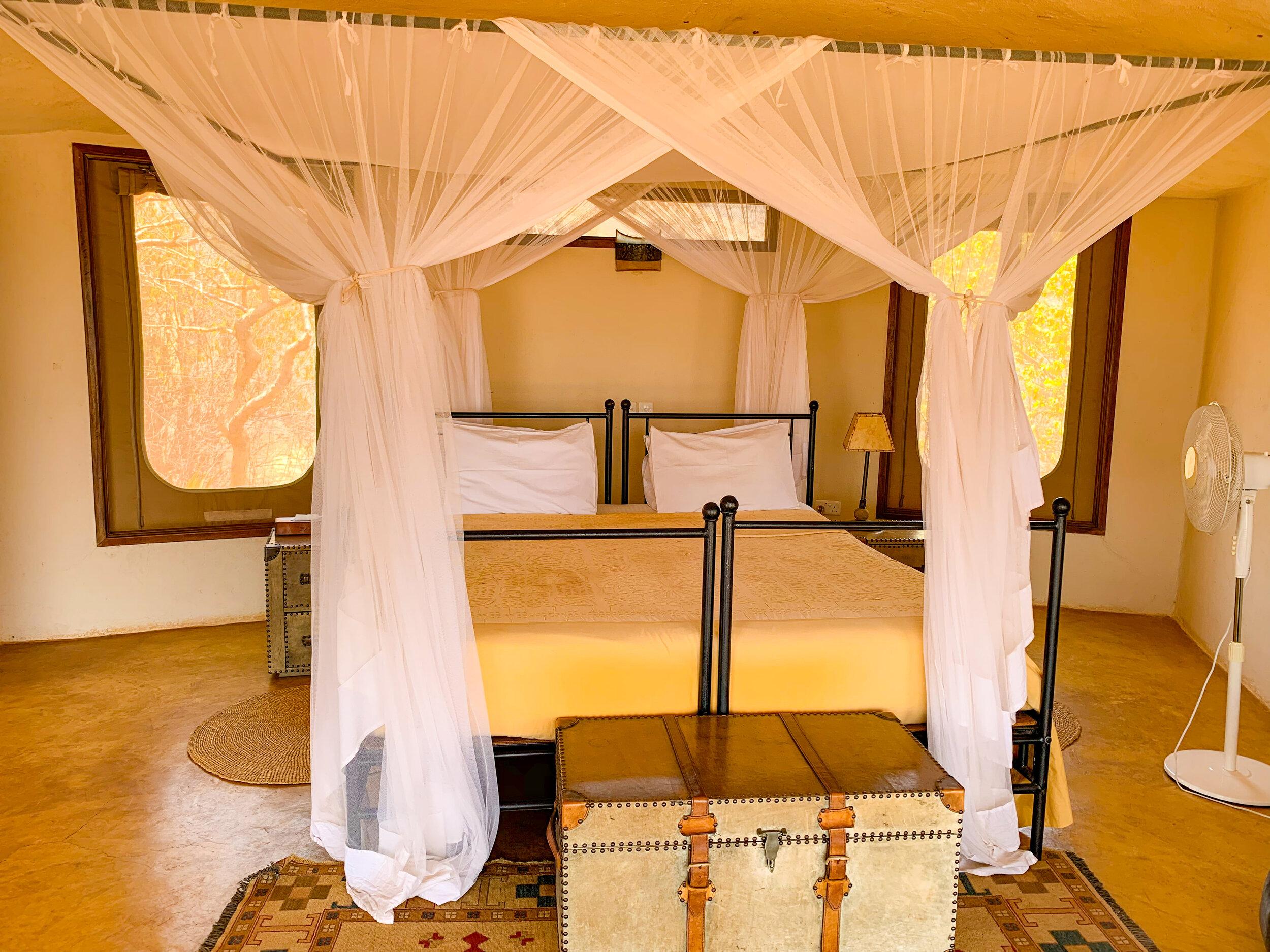 Guest Room Bed at Saruni Samburu