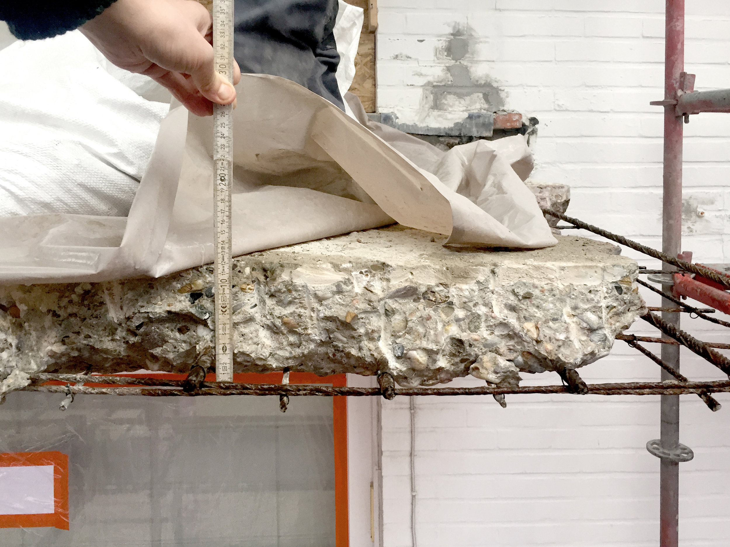 Concrete damages on an exterior slab