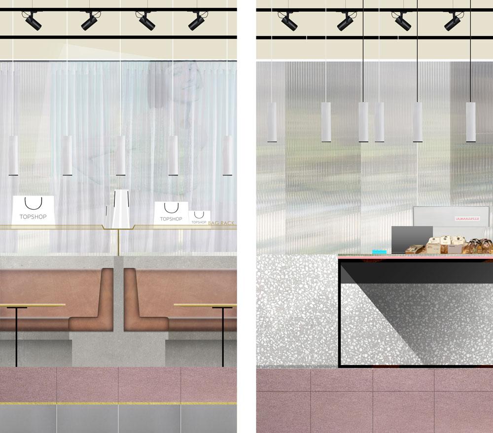 Proposed elevations for Topshop Café.
