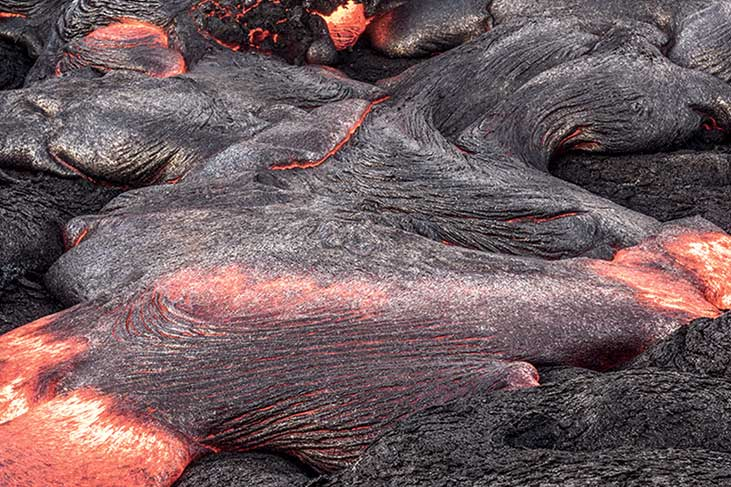 Basalt rock is molten to manufacture Rockpanel and ROCKWOOL products.