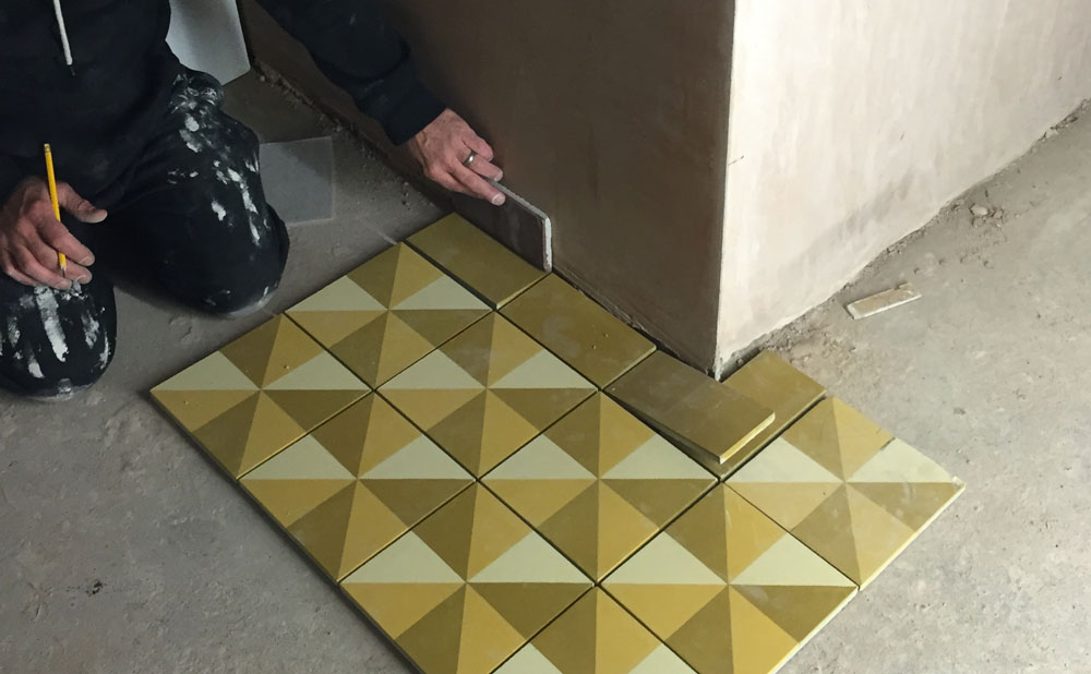 Setting out our bespoke tiles.