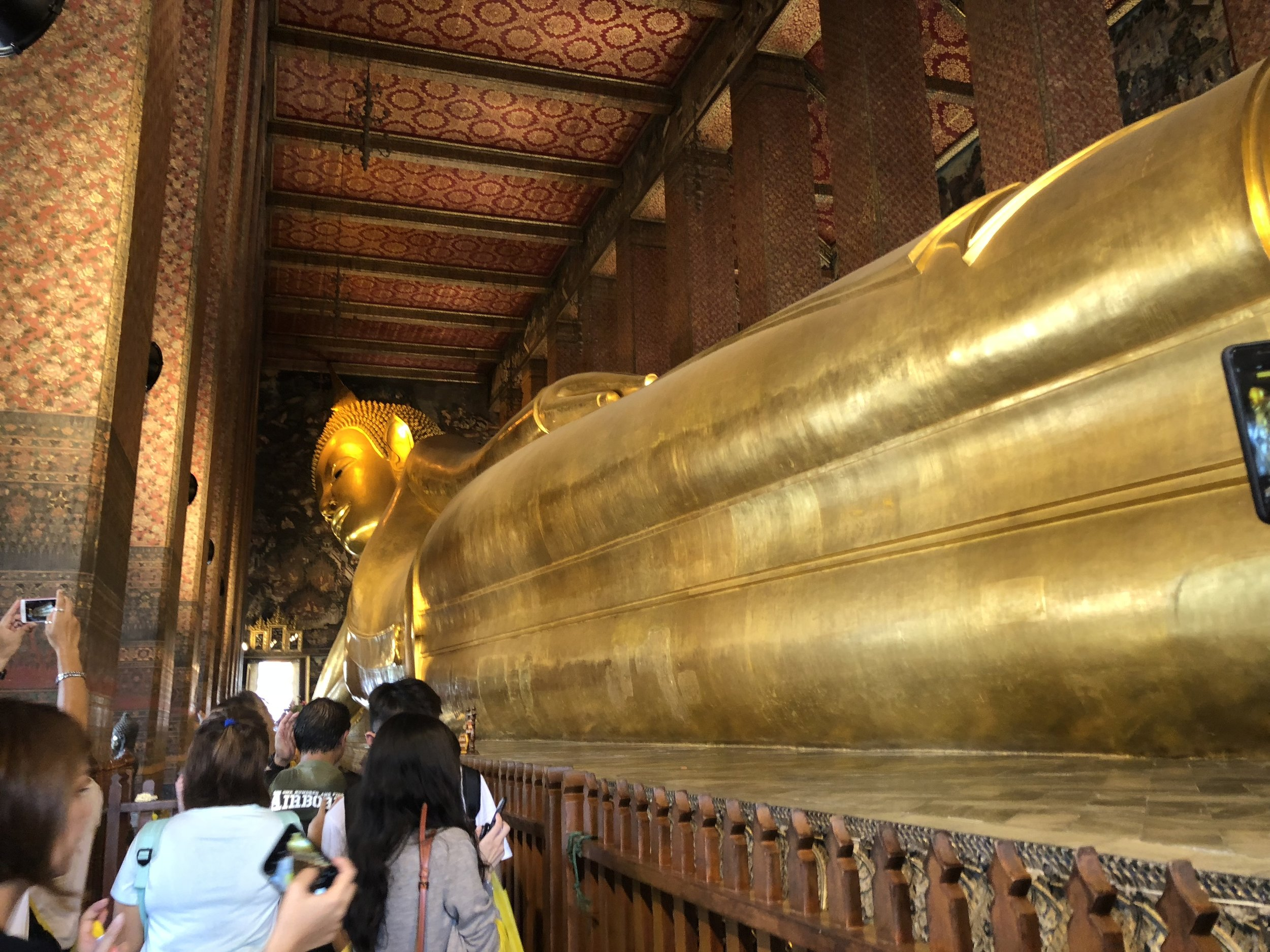 A look at the Reclining Buddha from its toes. The entire statue is 46 meters long at 15 meters high. The reclining position meant that the Buddha reached nirvana, and this statue is one of many Reclining Buddhas are the world.