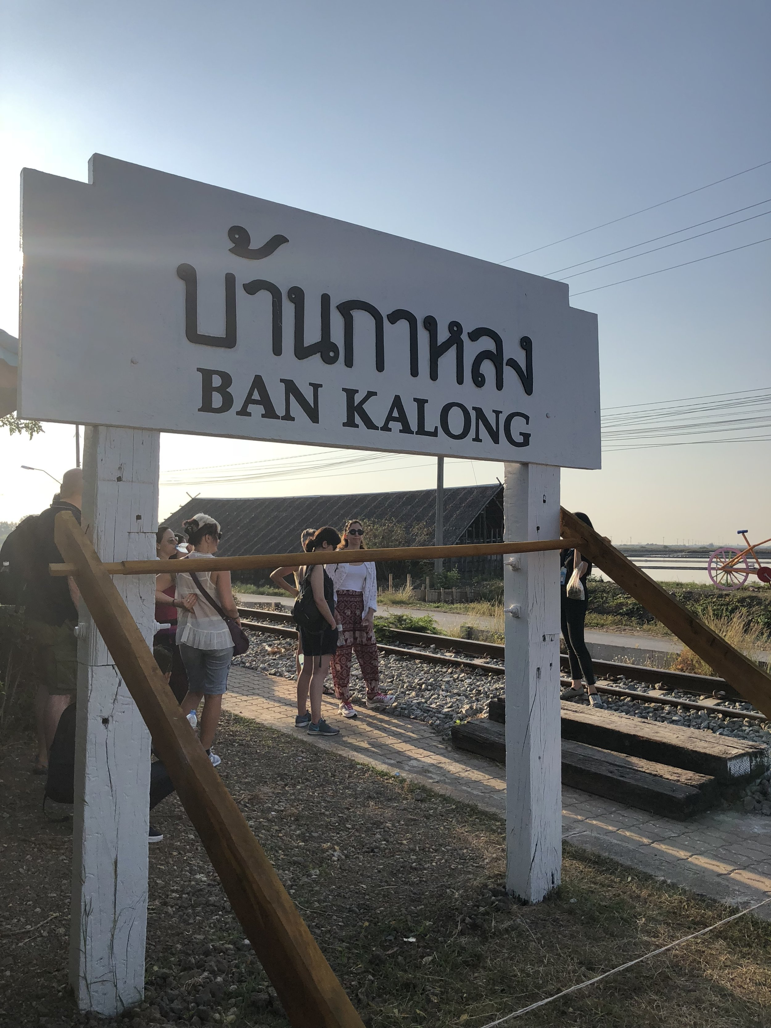 Waiting in this station for the train that will take us to Maeklong Station. We got to see some salt farms right next to the station.