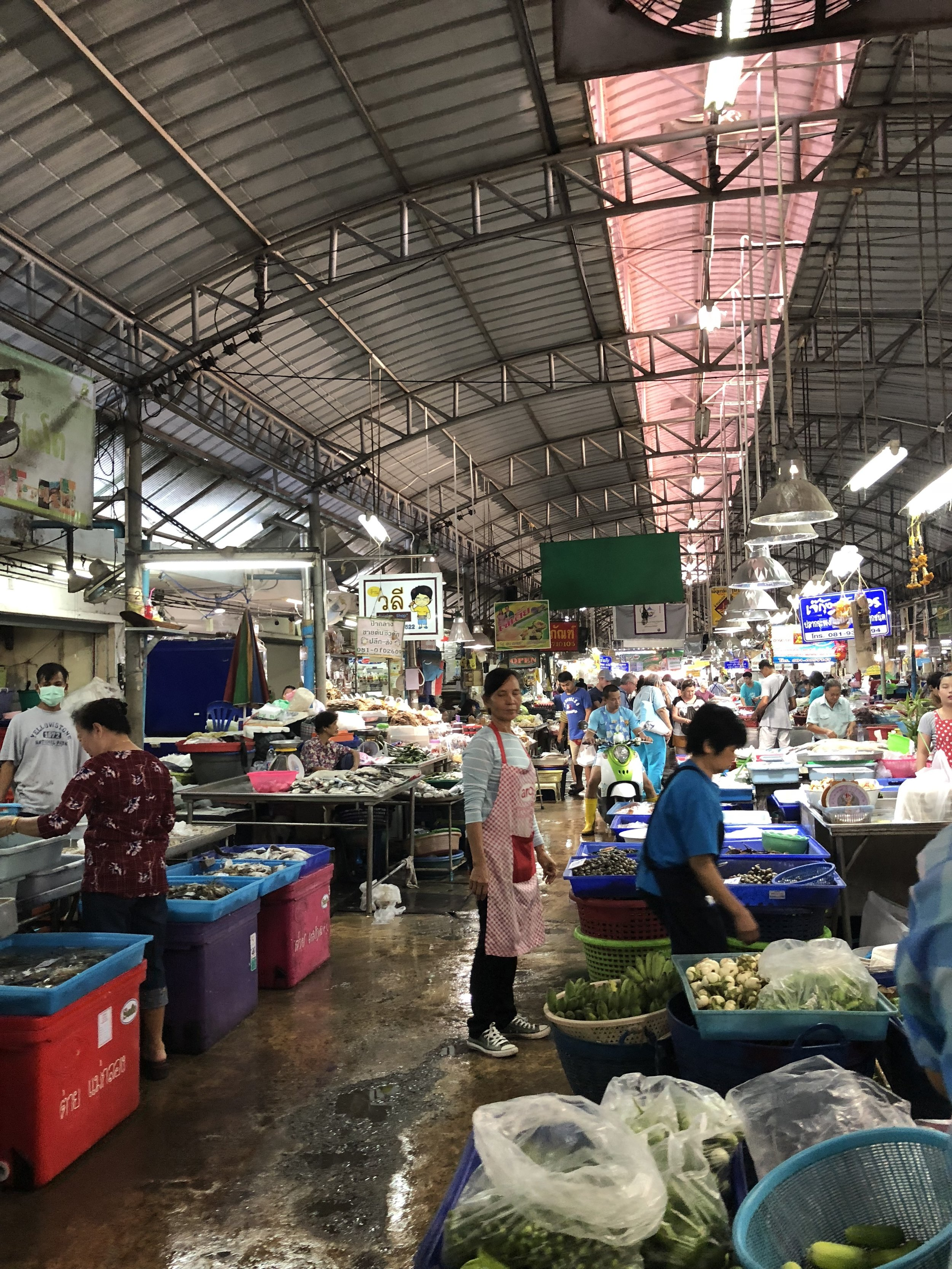 Walking through the part of the market that isn't located on the train tracks.