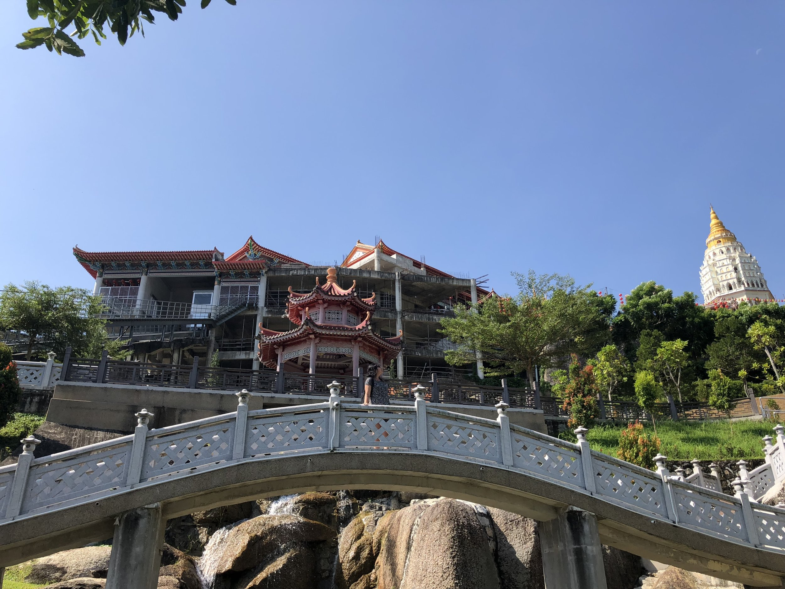 A bridge over a pond of turtles at the entrance of Kek Lok Si Temple. I am standing at the center of the bridge!