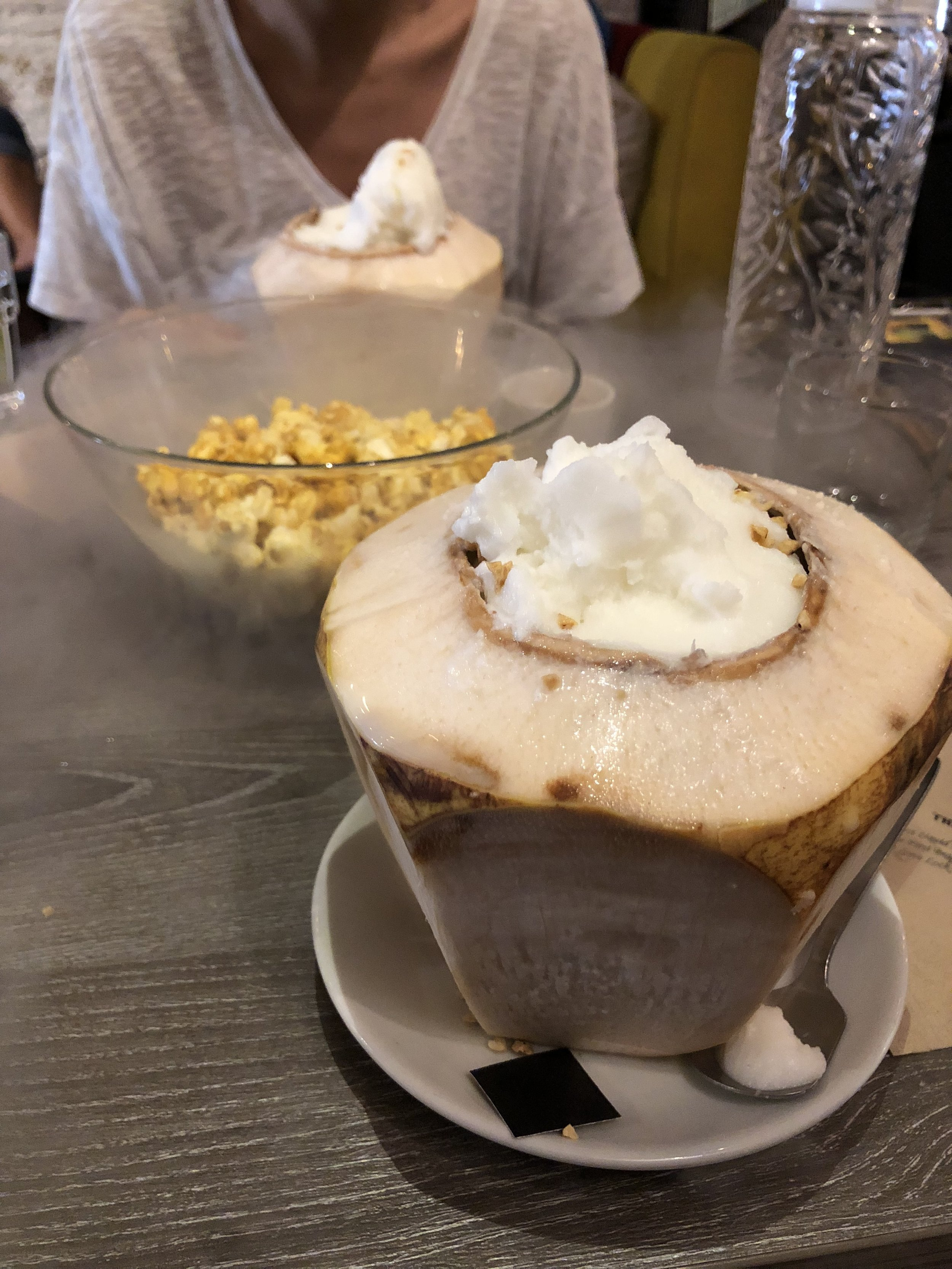 Coconut ice cream served in a shaved coconut! Another tasty and refreshing treat. In between our coconut ice creams is dry iced kettle corn.