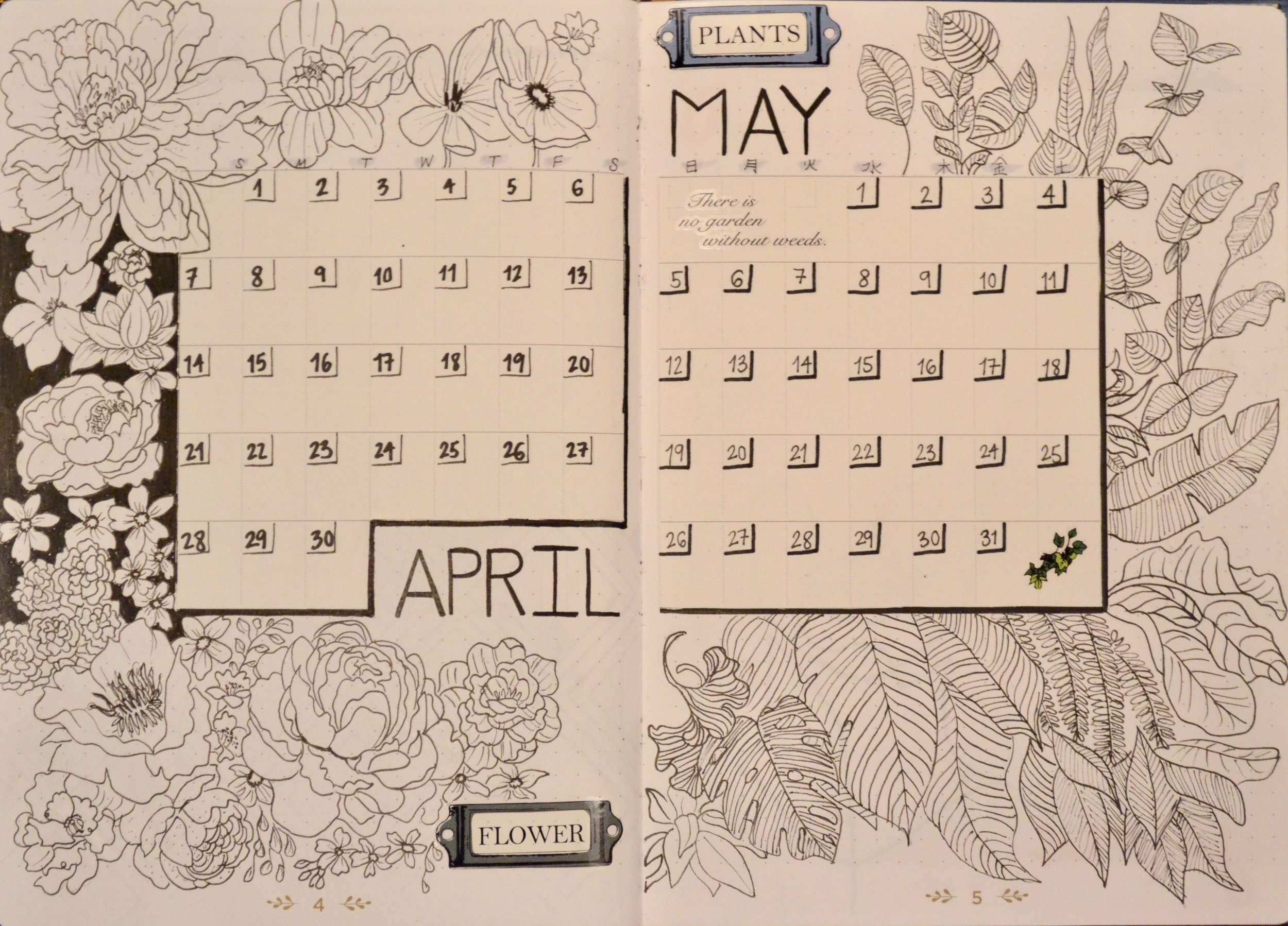 One of my favorite monthly spreads! I like to have these month pages in order to be better organized and I can write down the things I have to do and planning for over a long period of time.