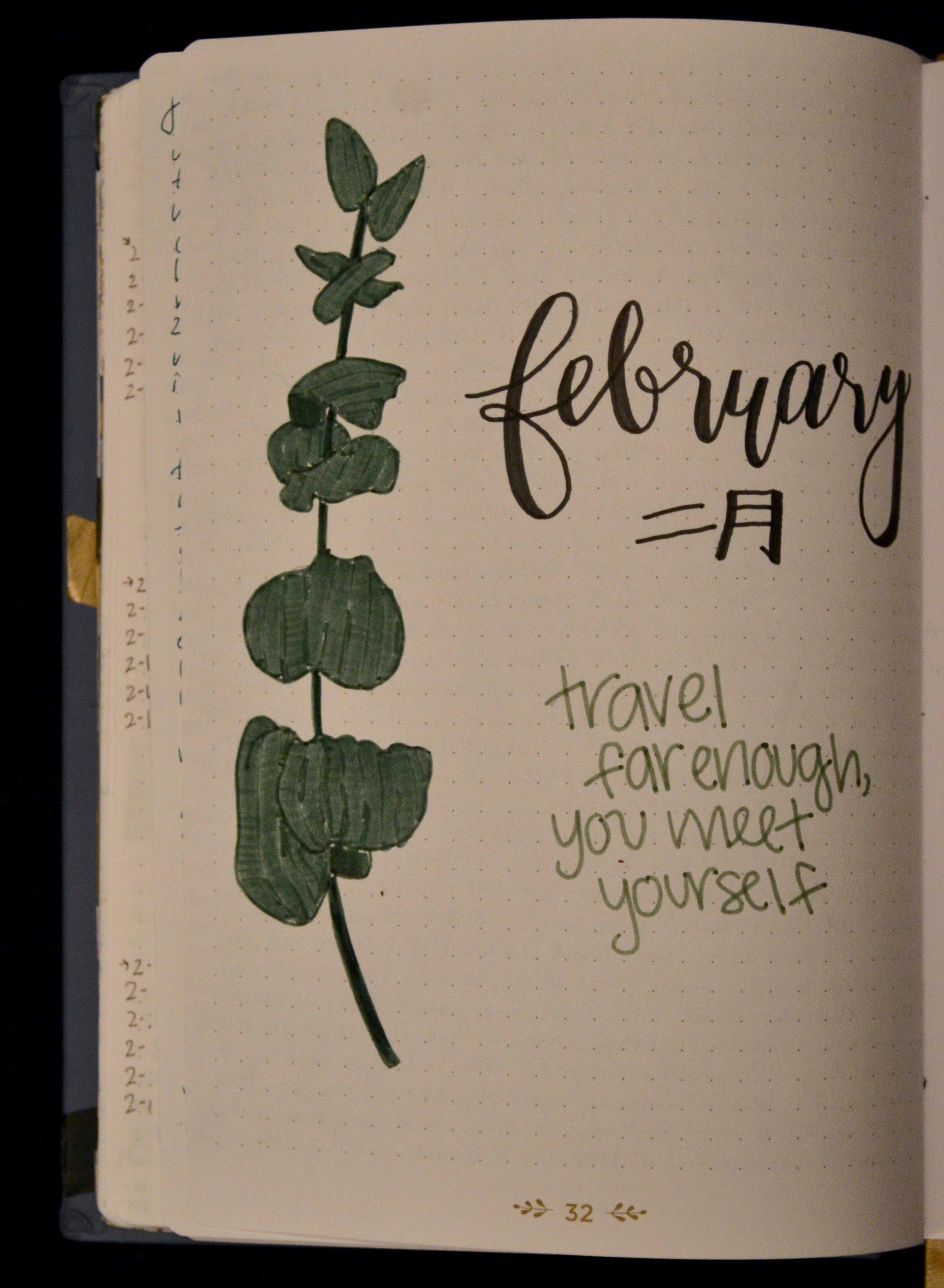 Cada vez que un mes nuevo comienza, yo dibujo una página para separar los experiencias de ese mes.