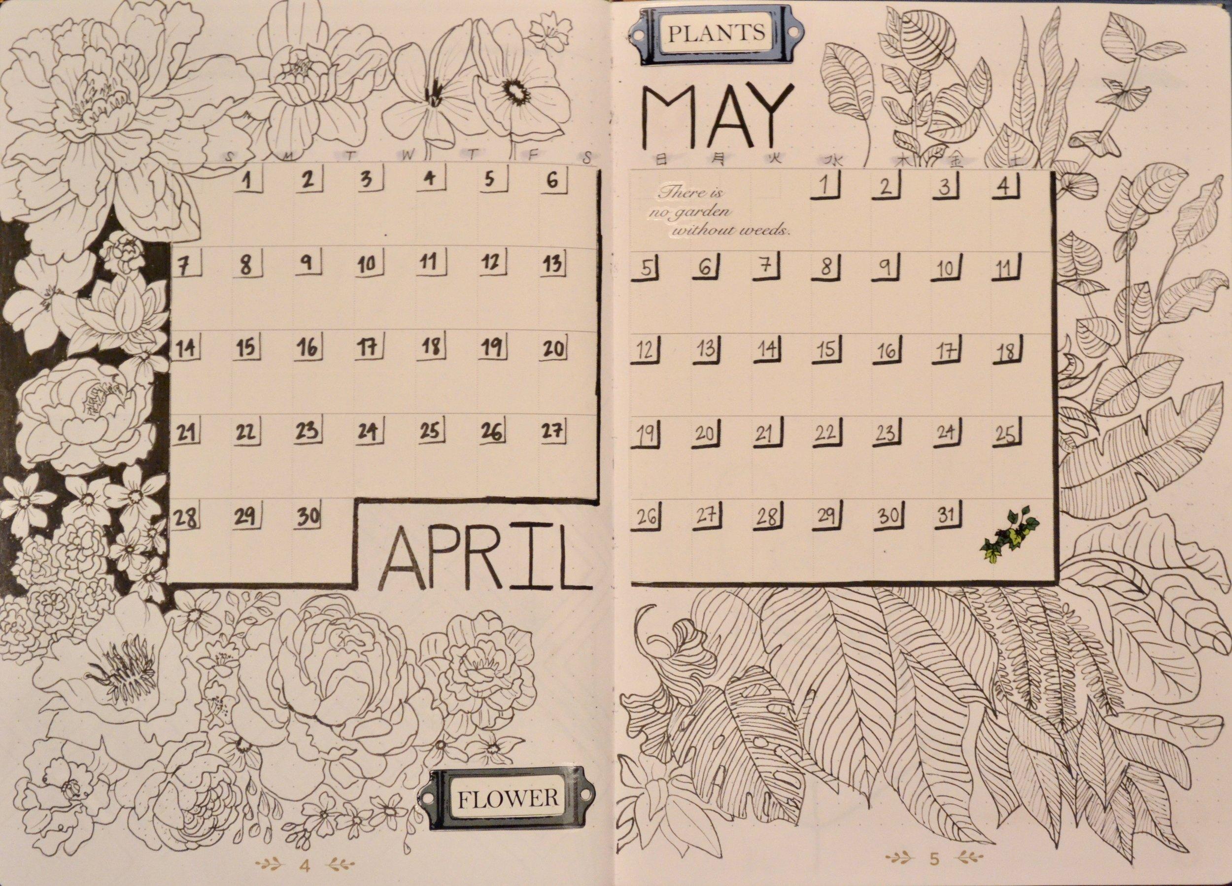 El calendario que escribí para abril y mayo. Me encanta las flores y hojas de plantas exóticas, entonces dibuje ramos de flores y plantas. Con este calendario puedo ver todos mis responsabilidades y estar mejor organizada.