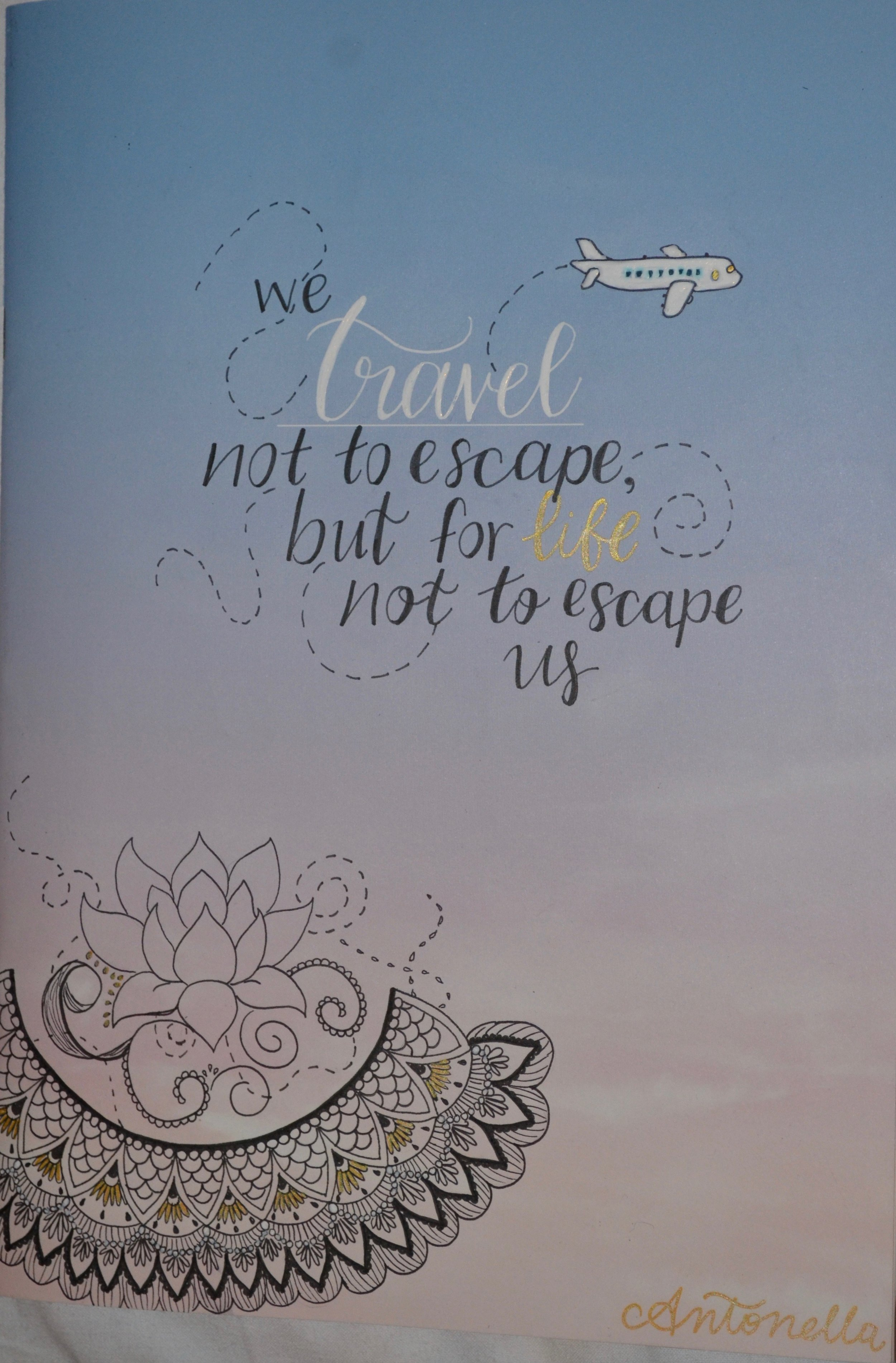 La tapa de mi diario de viajes era vació, y decidí dibujar flores y experimentar con caligrafía.