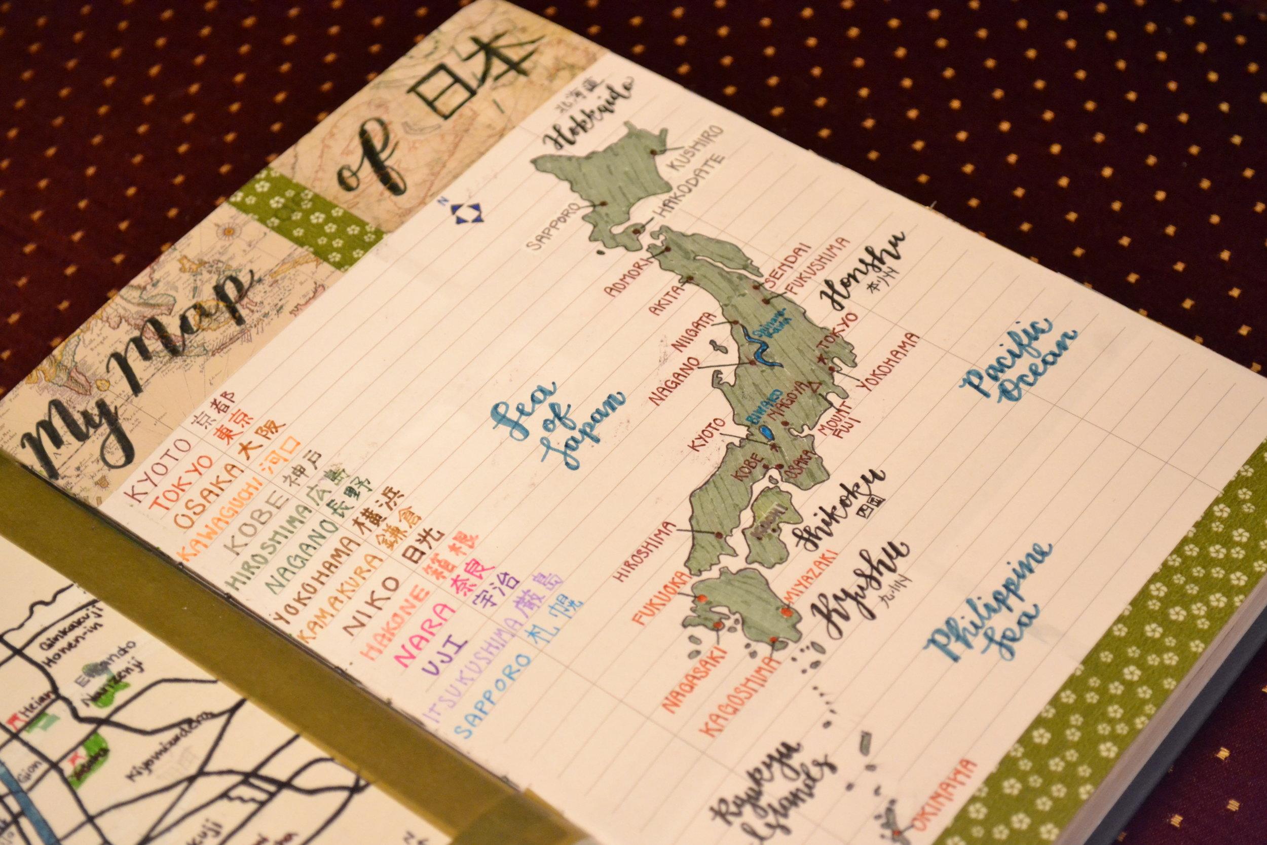 Finalmente, me encanta listar los lugares donde quiero visitar y los lugares donde yo he visitado. Los mapas son una buena manera para enseñar eso. Voy a seguir escribiendo y dibujando en mi bullet journal hasta que me canse.