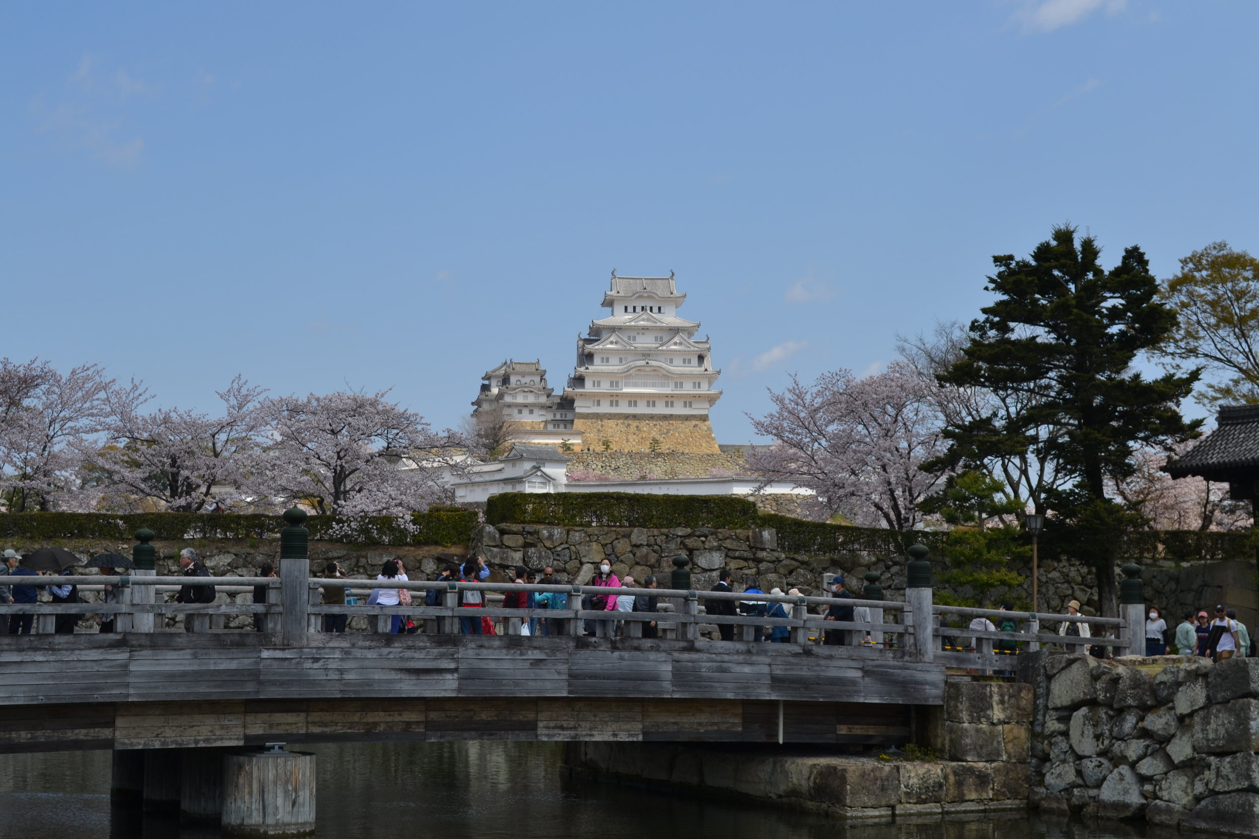 A look at the castle from afar, and you can see the entrance bridge to it has plenty of tourists.