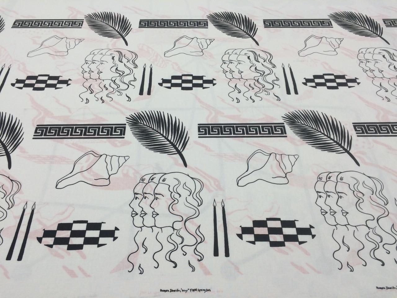 Hanan Sharifa, one colour repeat pattern, screen print on fabric, 30 x 72.